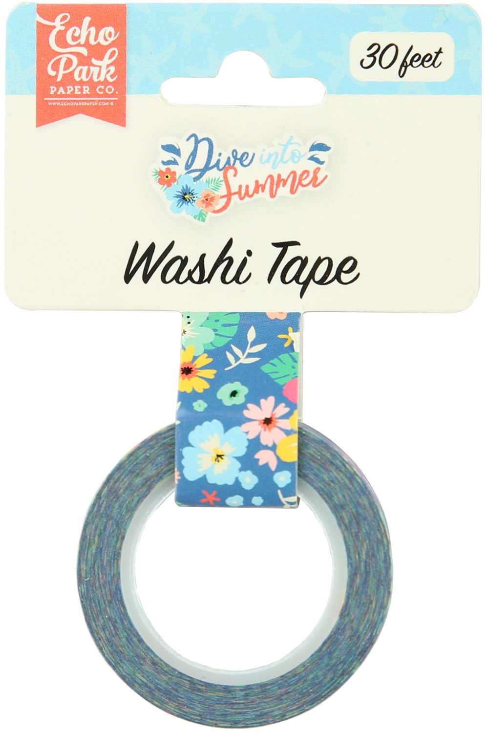 Echo Park Dive Into Summer Washi Tape 30'-Aloha Floral