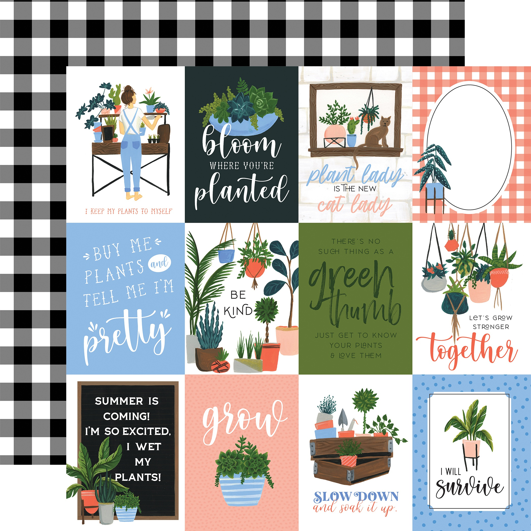 Plant Lady Double-Sided Cardstock 12X12-3X4 Journaling Cards
