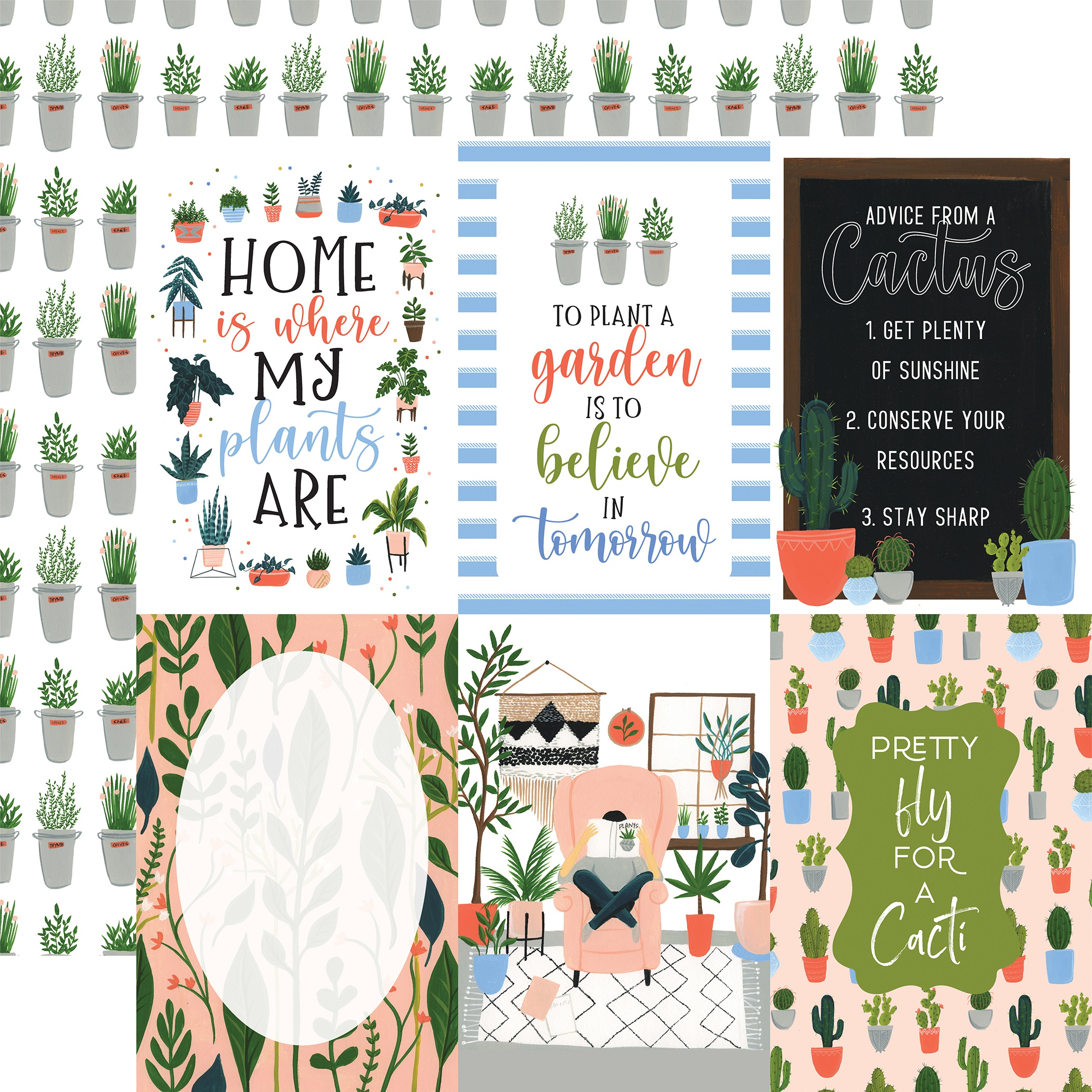 Plant Lady Double-Sided Cardstock 12X12-4X6 Journaling Cards