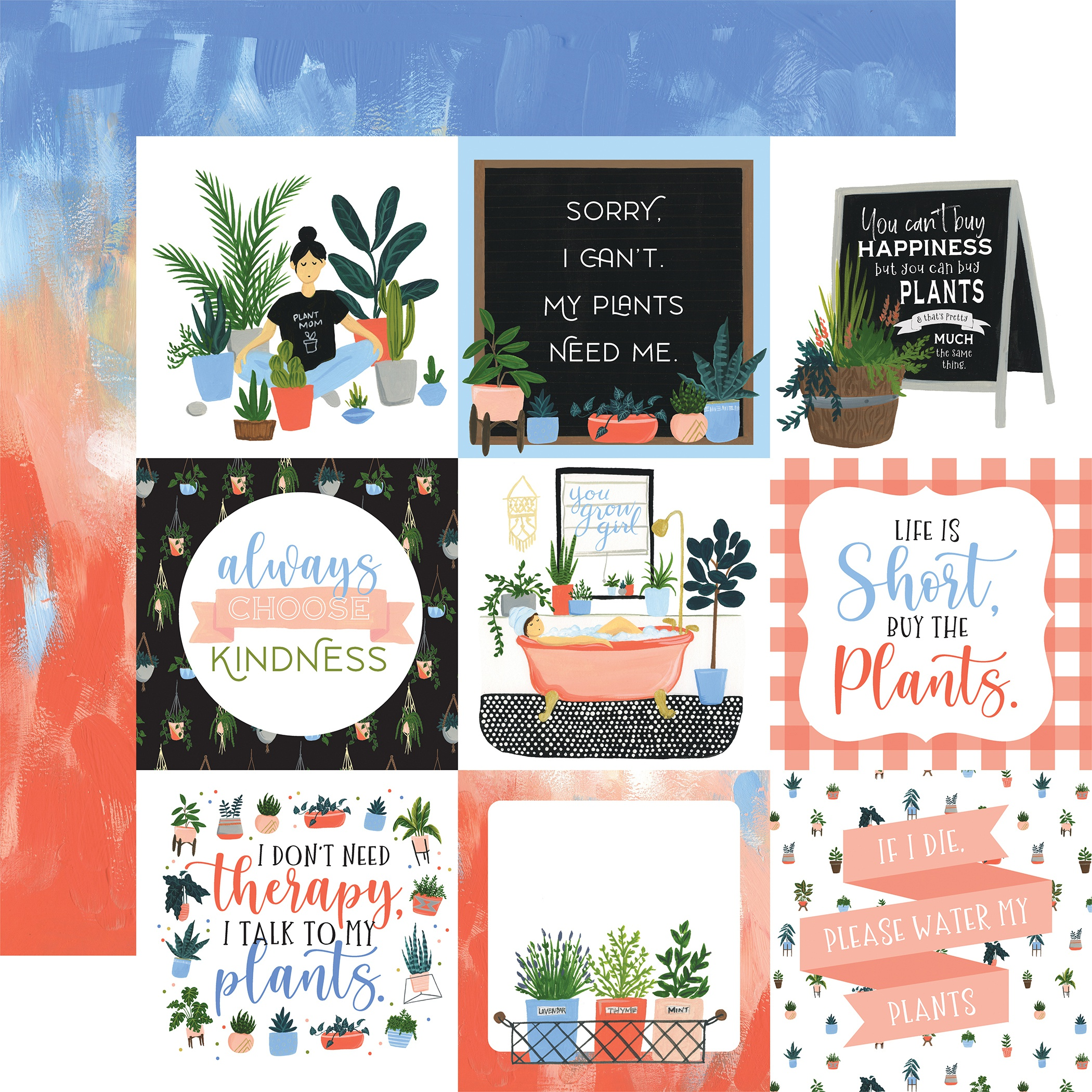 Plant Lady Double-Sided Cardstock 12X12-4X4 Journaling Cards