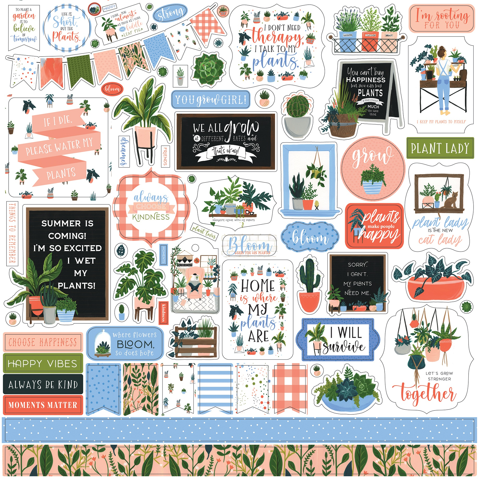 Plant Lady Cardstock Stickers 12X12-Elements