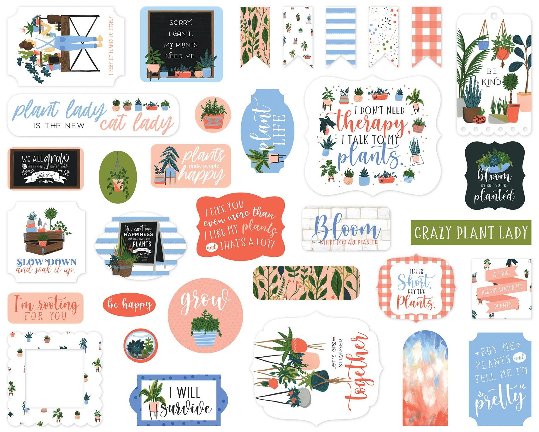 Echo Park Cardstock Ephemera 33/Pkg-Icons, Plant Lady
