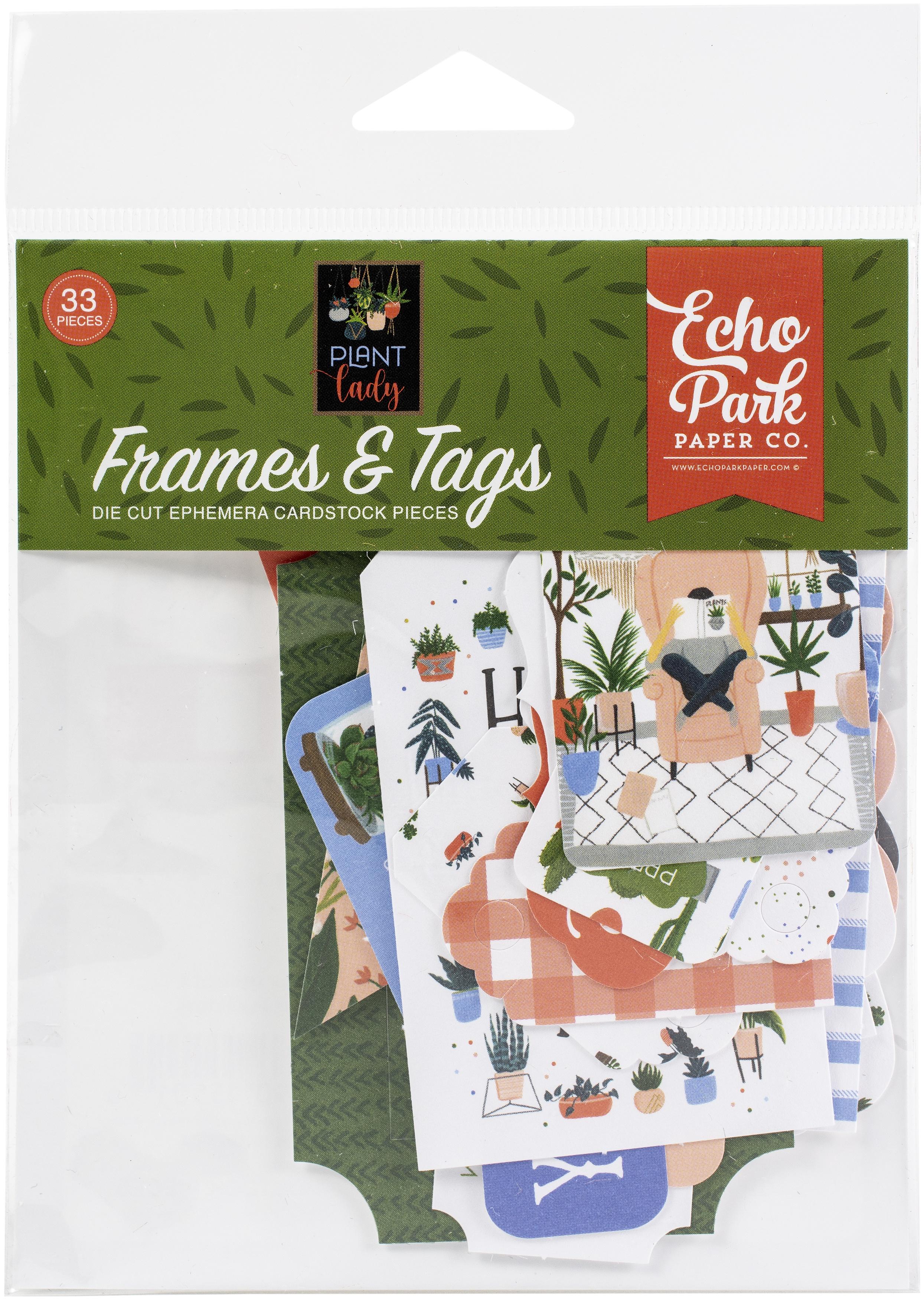 Echo Park Cardstock Ephemera 33/Pkg-Frames & Tags, Plant Lady