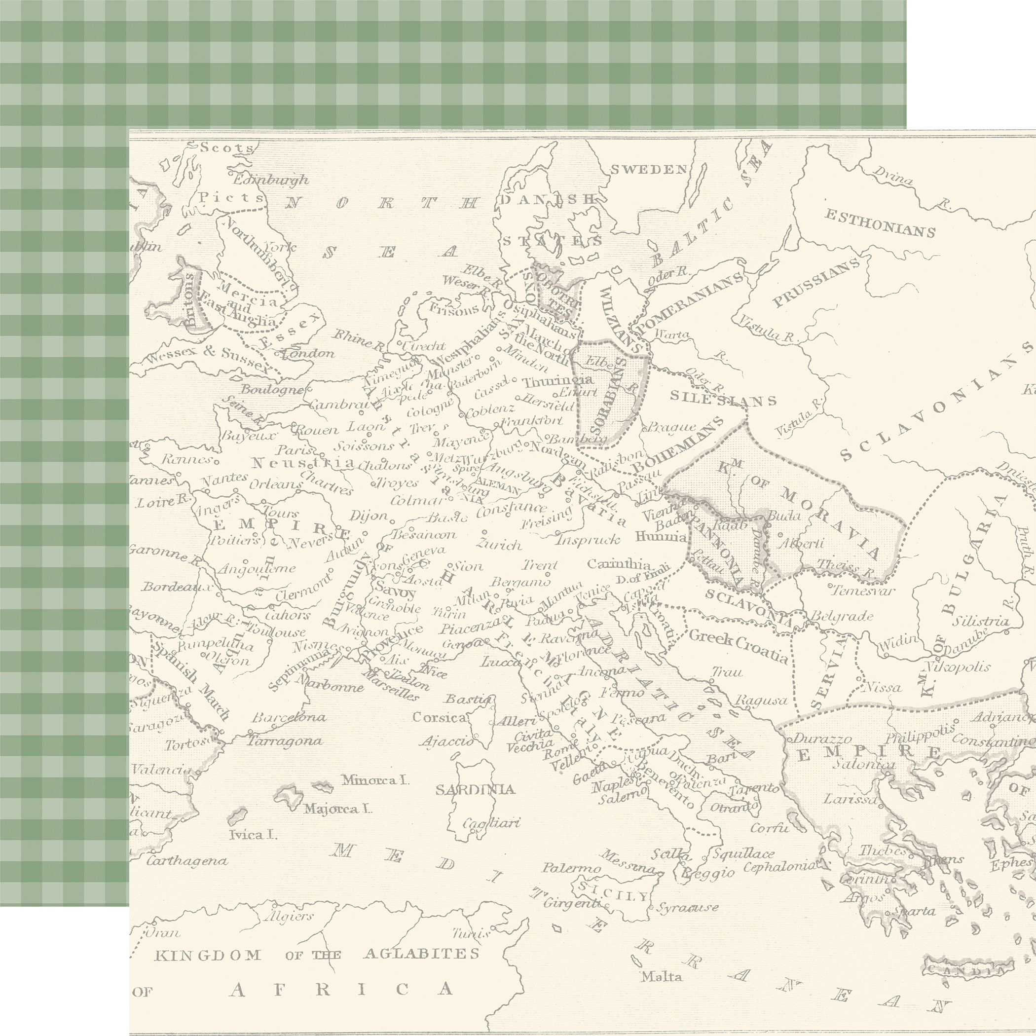 Echo Park Scenic Route Double-Sided Cardstock 12x12- Map Of Europe