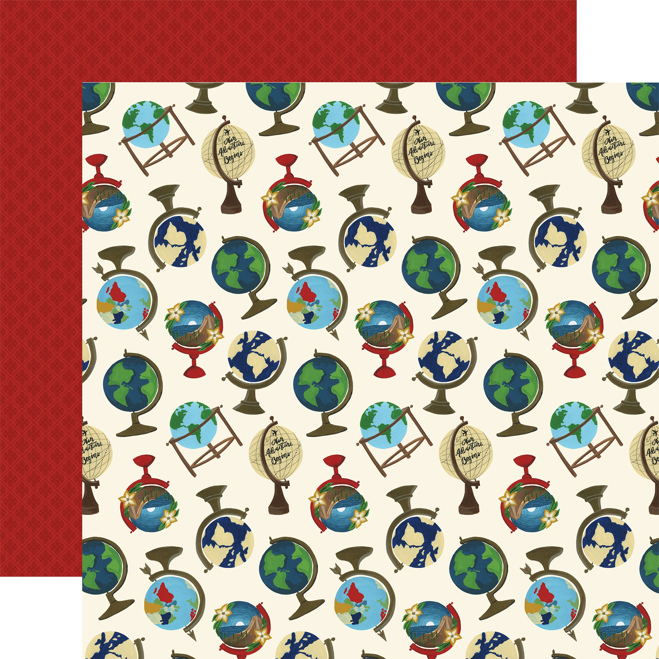 Scenic Route Double-Sided Cardstock 12X12-Globes