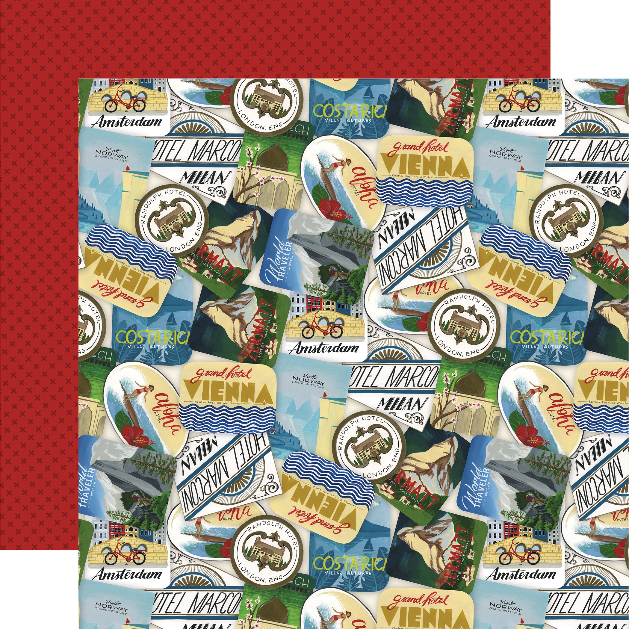 Scenic Route Double-Sided Cardstock 12X12-Travel Stickers