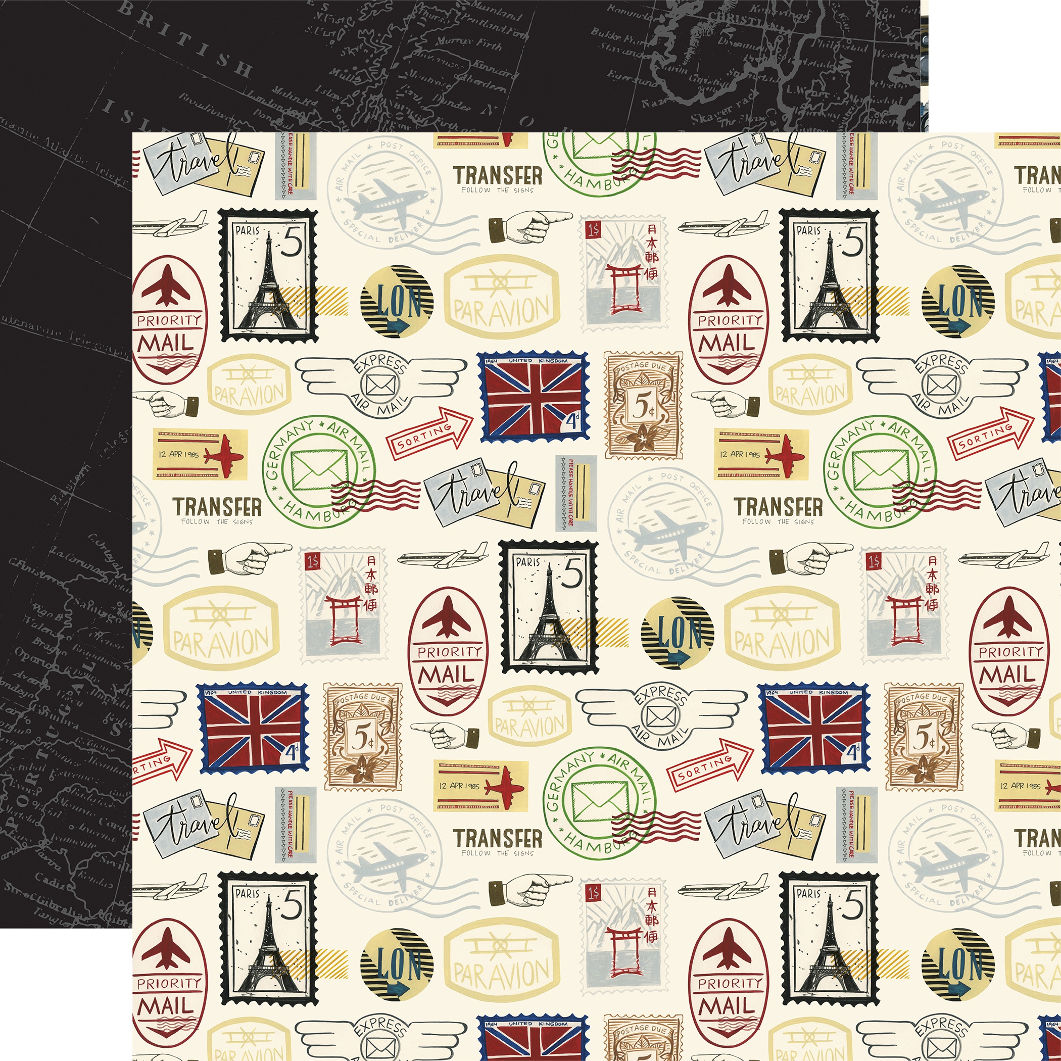 Scenic Route Double-Sided Cardstock 12X12-Postage Stamps