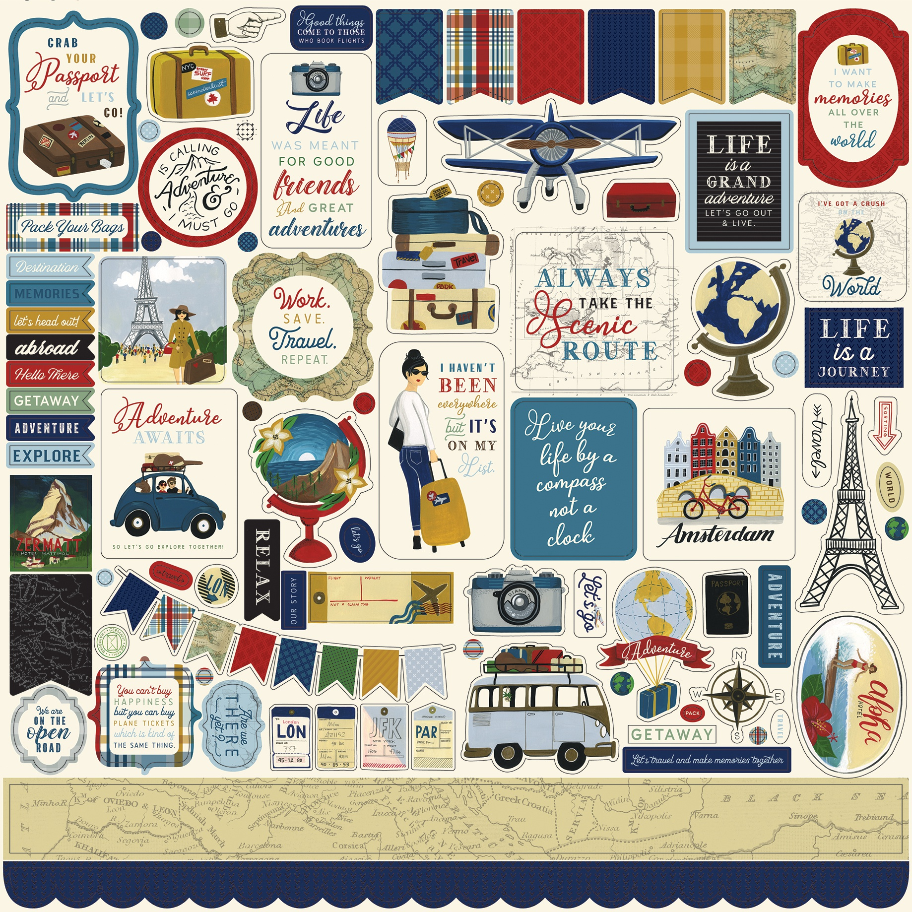 Scenic Route Cardstock Stickers 12X12-Elements