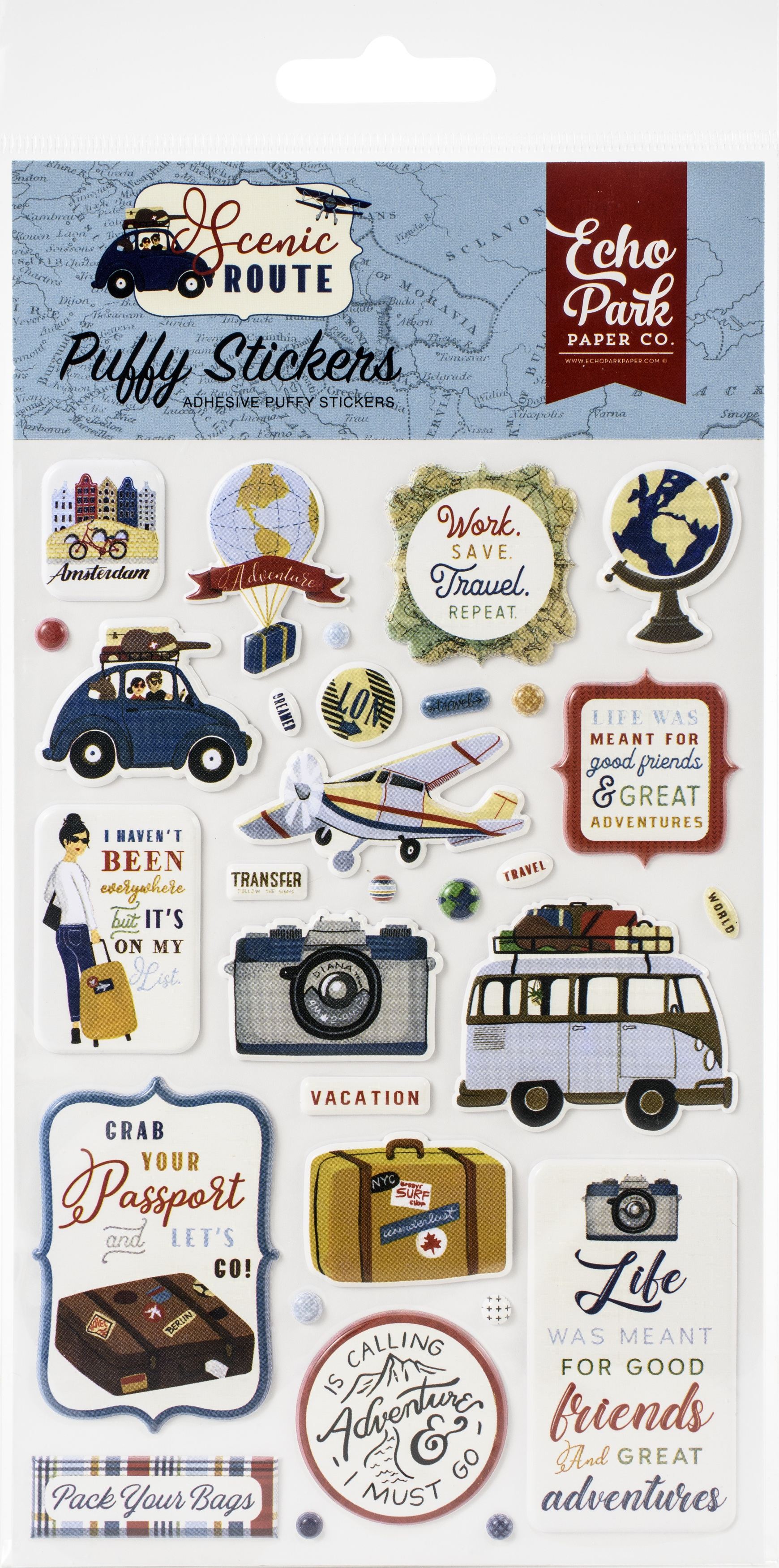 Scenic Route Puffy Stickers-
