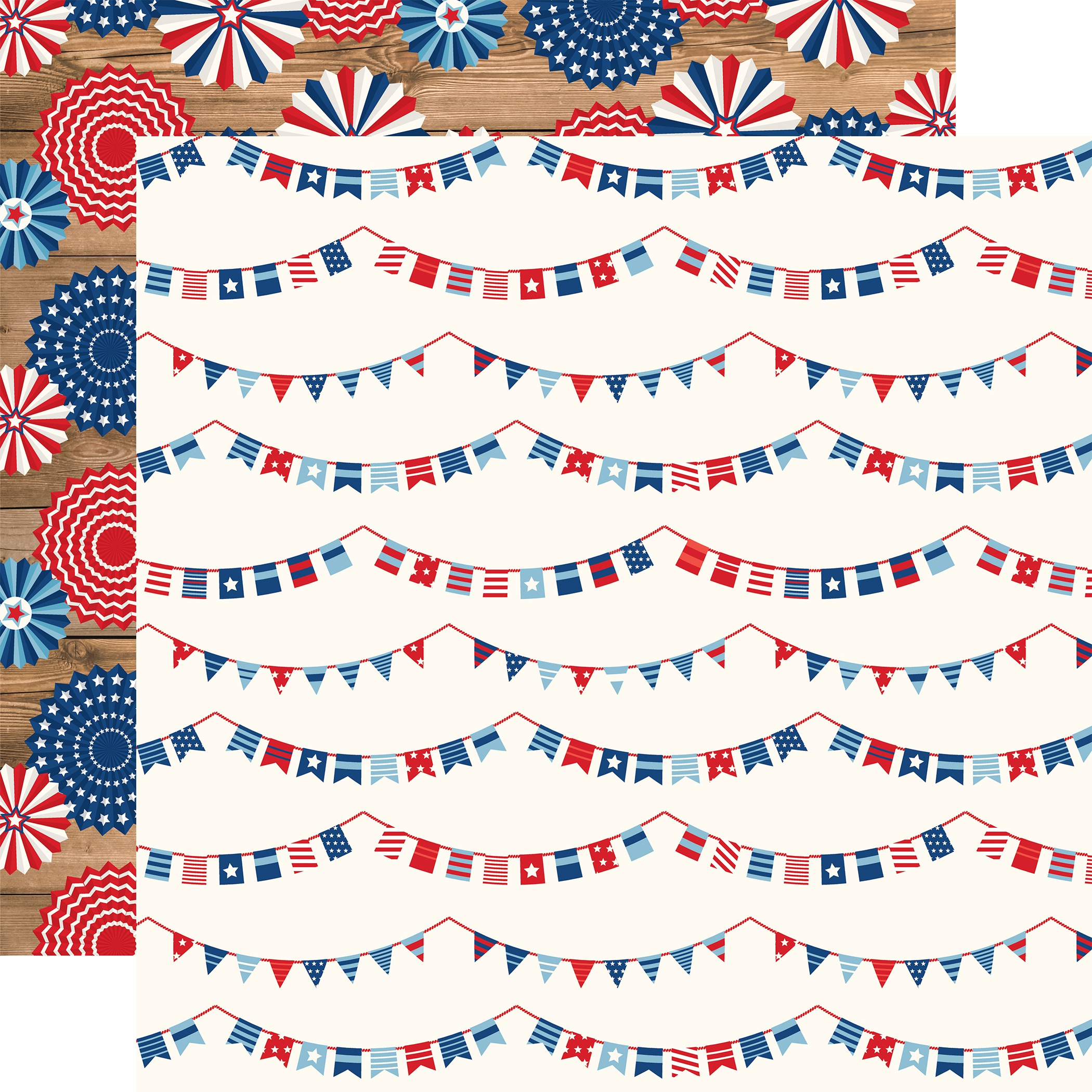 America Double-Sided Cardstock 12X12-Independence Banners