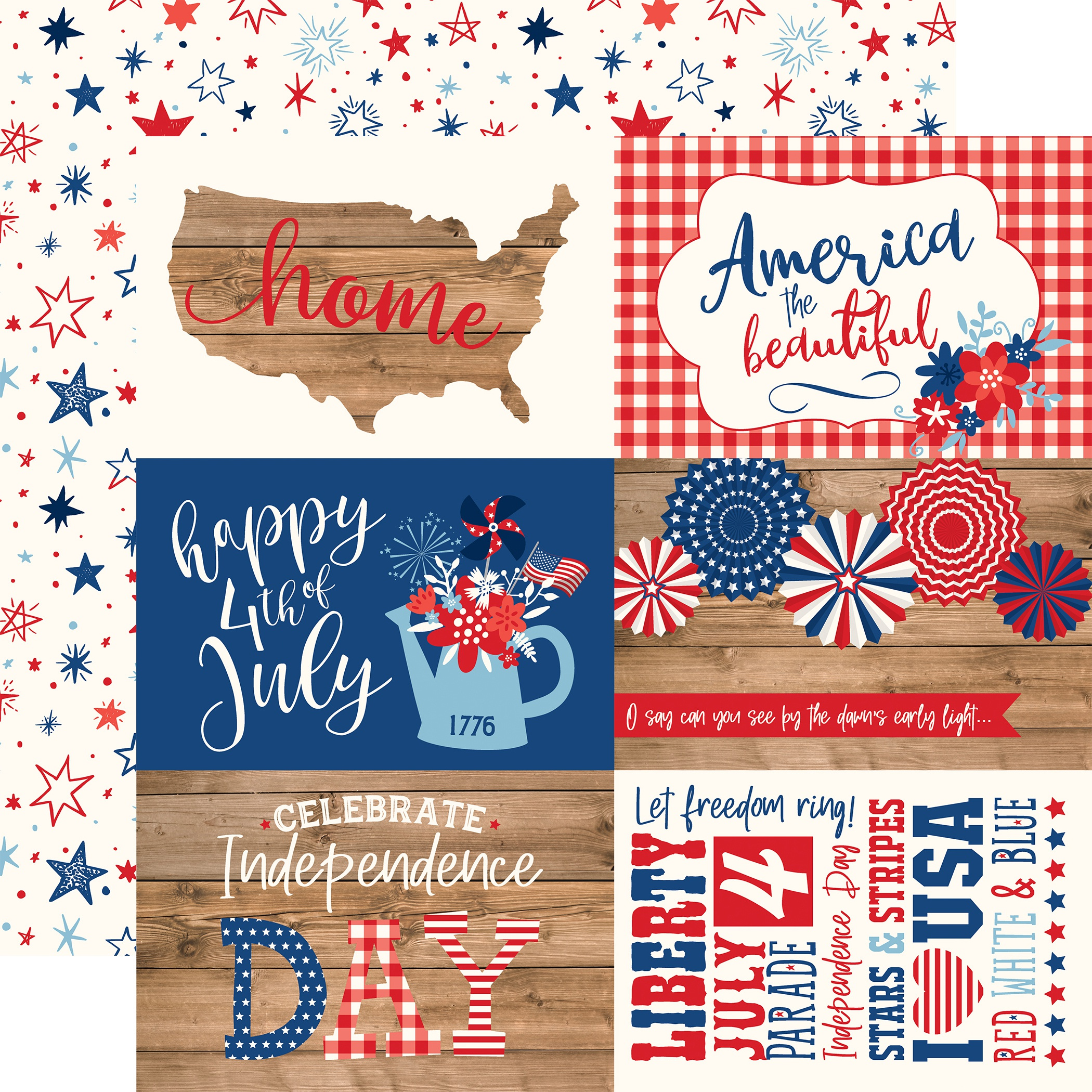 America Double-Sided Cardstock 12X12-4X6 Journaling Cards