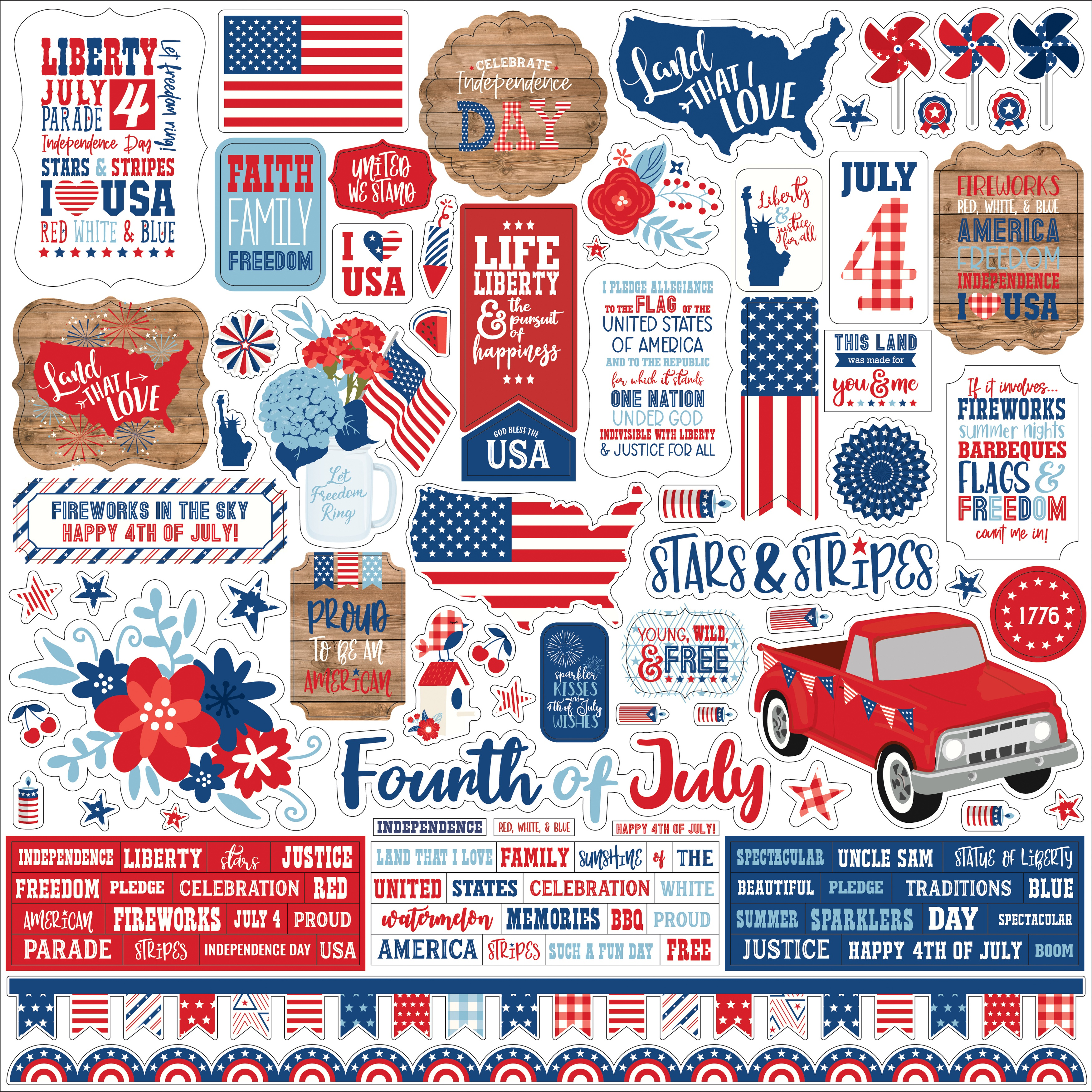America Cardstock Stickers 12X12-Elements