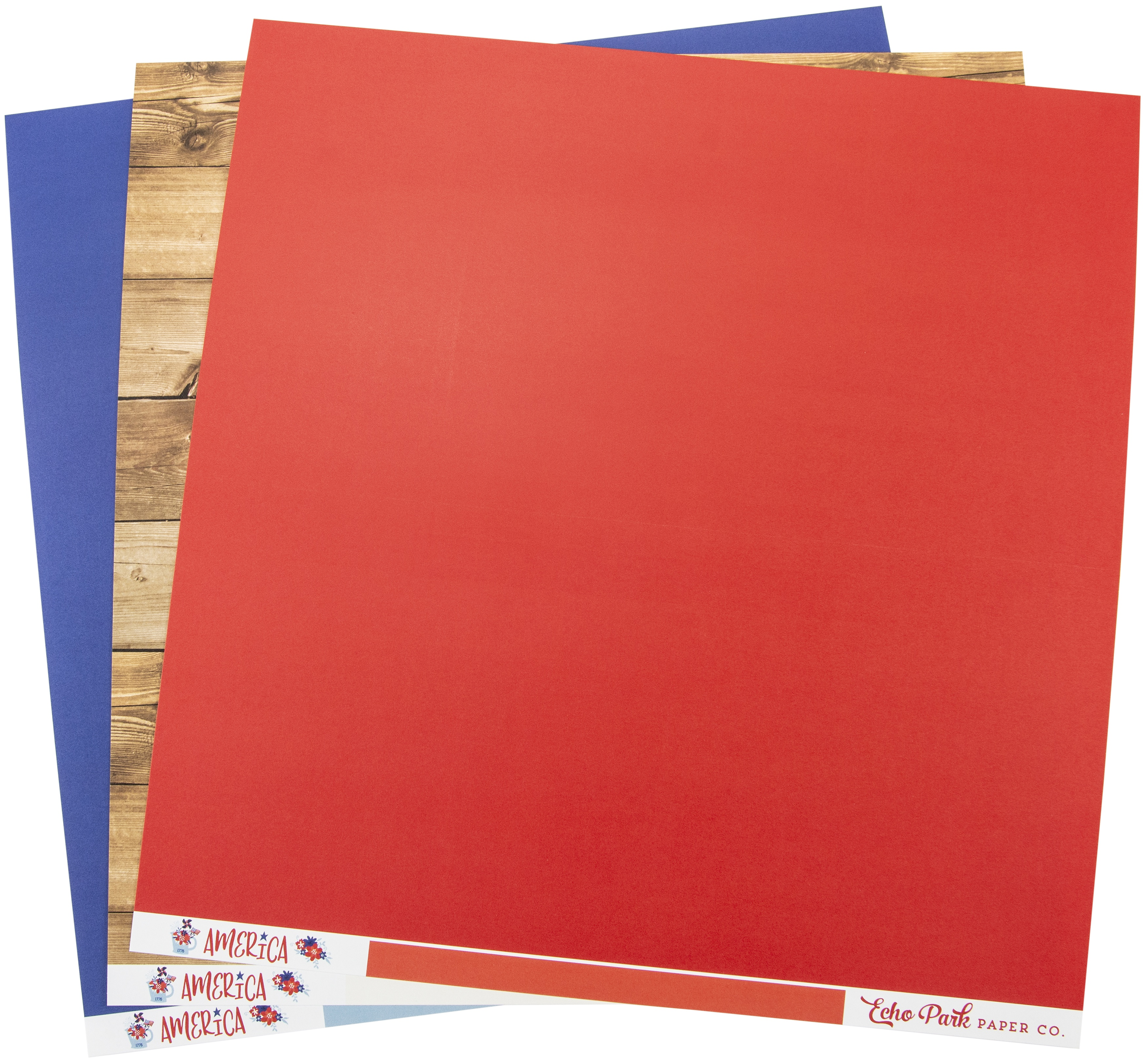 Echo Park Double-Sided Solid Cardstock 12X12 6/Pkg-America, 6 Colors