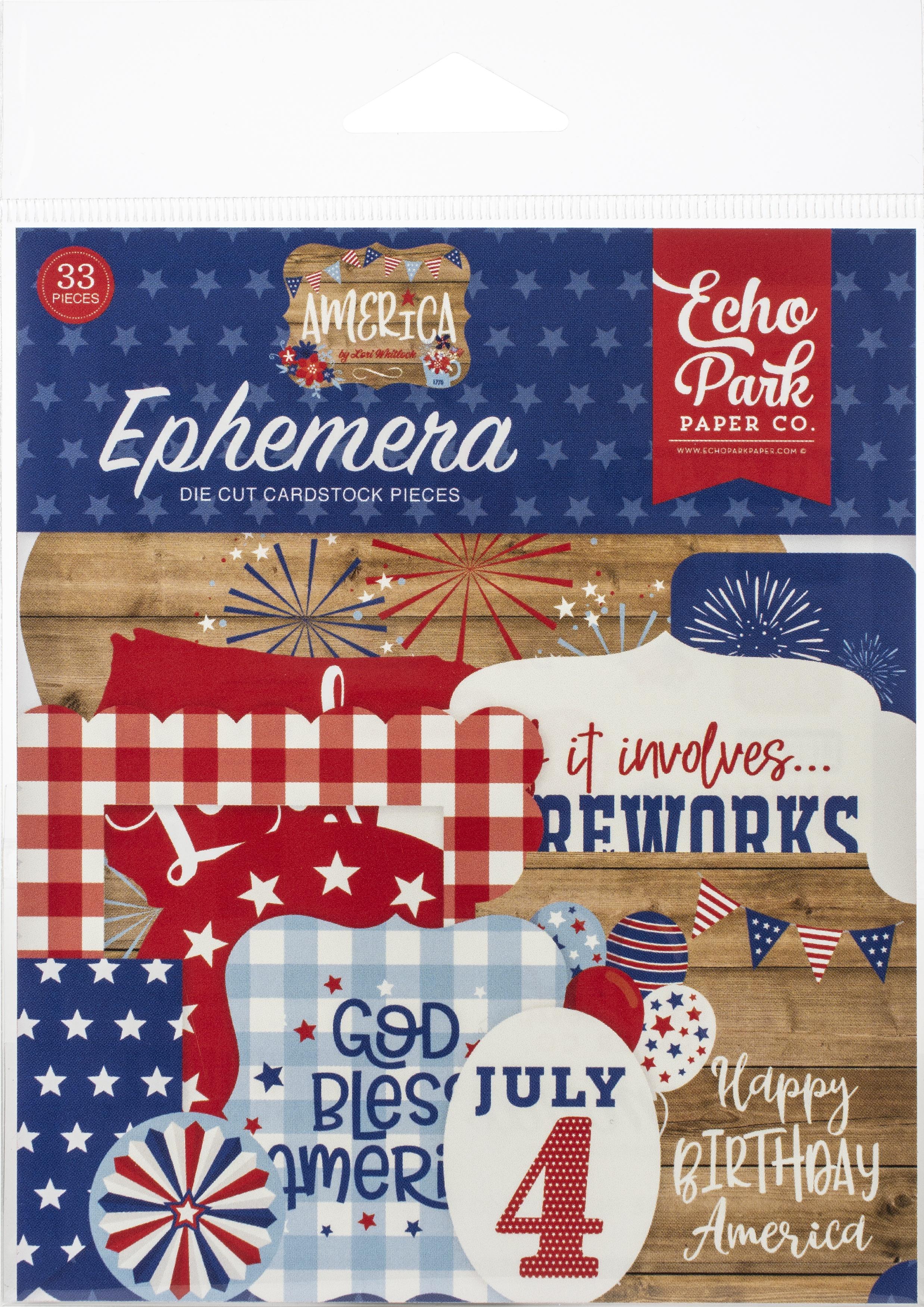 Echo Park Cardstock Ephemera 33/Pkg-America