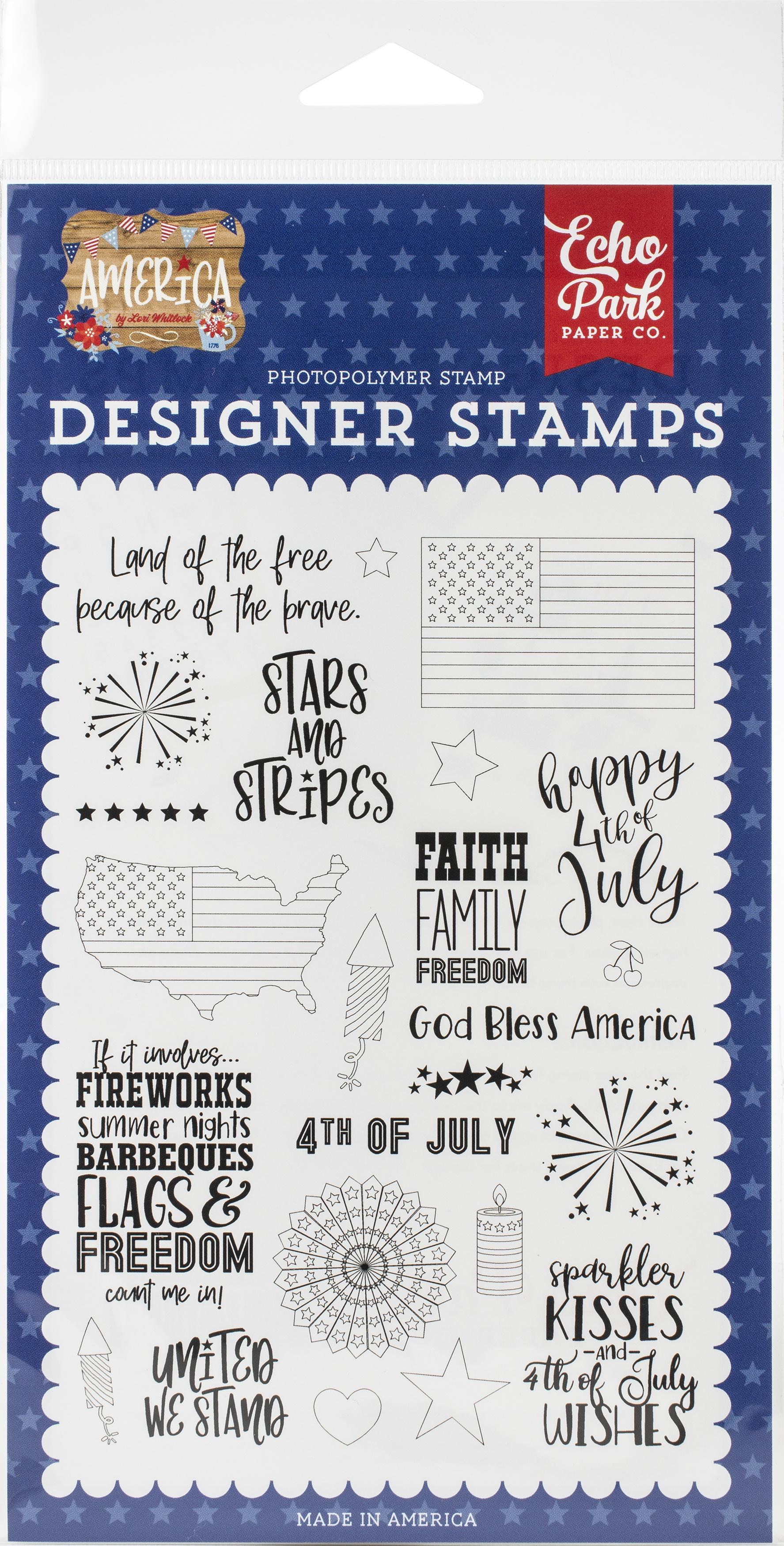 Echo Park Stamps-Stars & Stripes, America