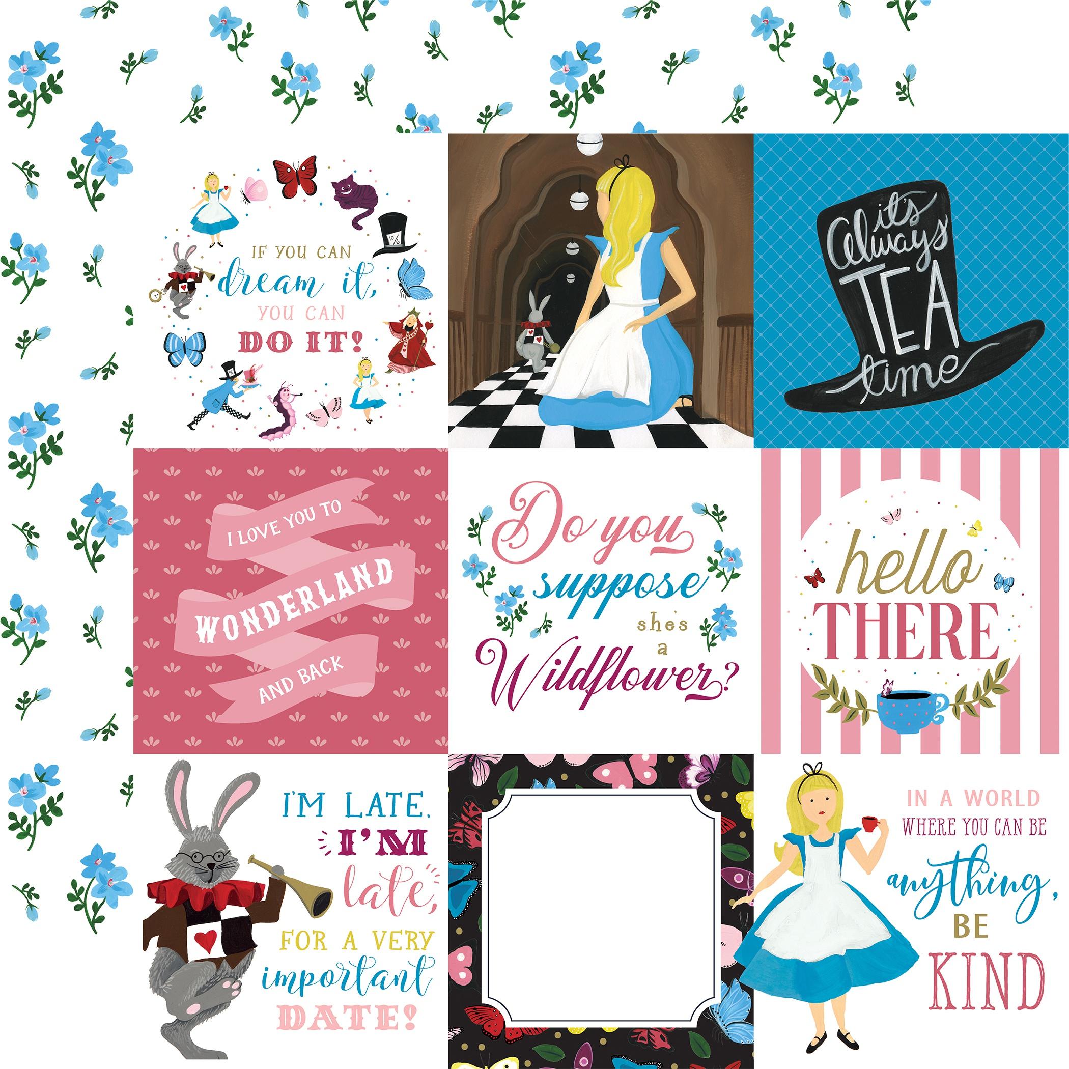 Alice In Wonderland No2 4x4 Journaling Cards