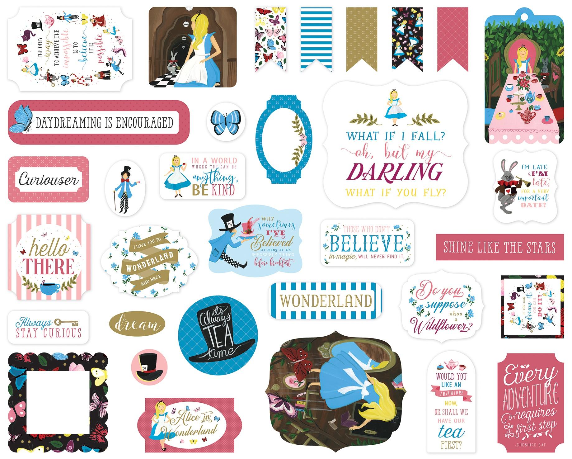 Echo Park Cardstock Ephemera 33/Pkg-Alice In Wonderland No