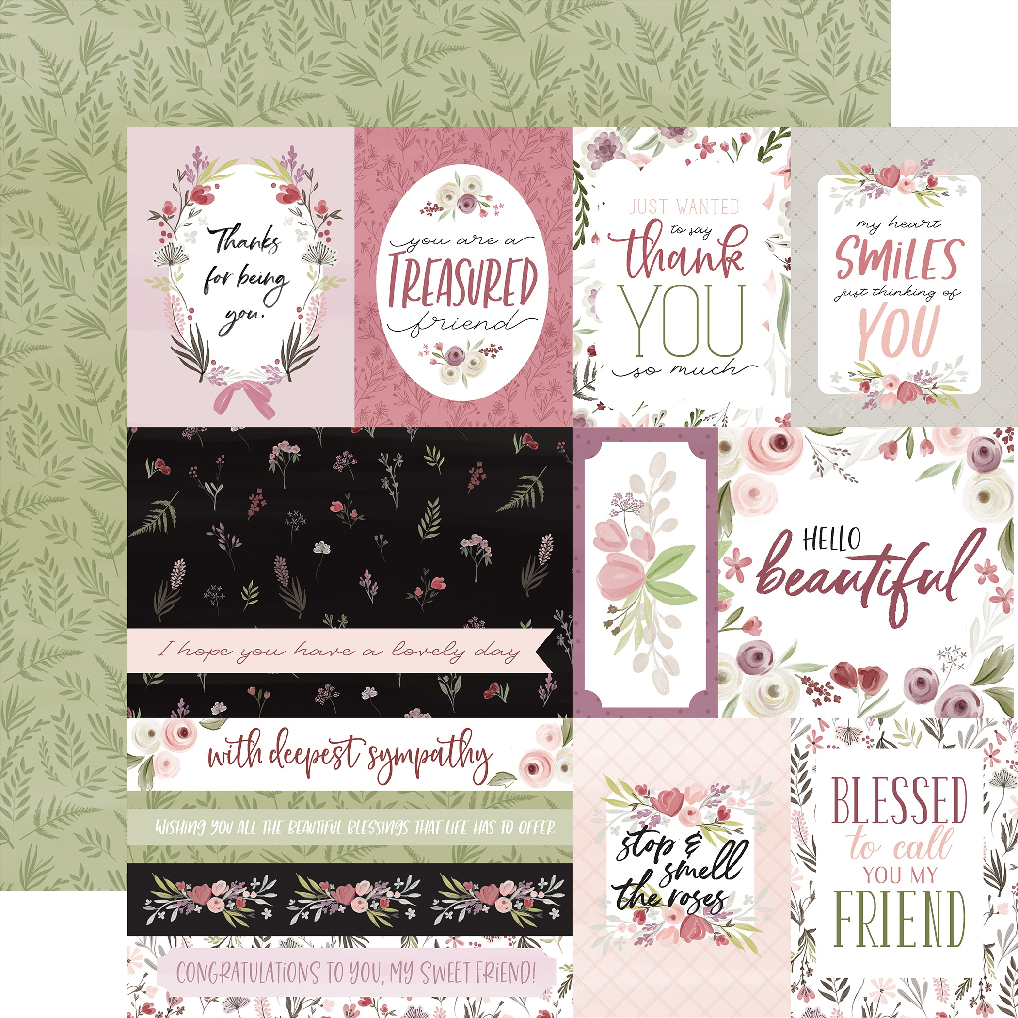 Flora No. 3 Double-Sided Cardstock 12X12-Elegant Journaling Cards
