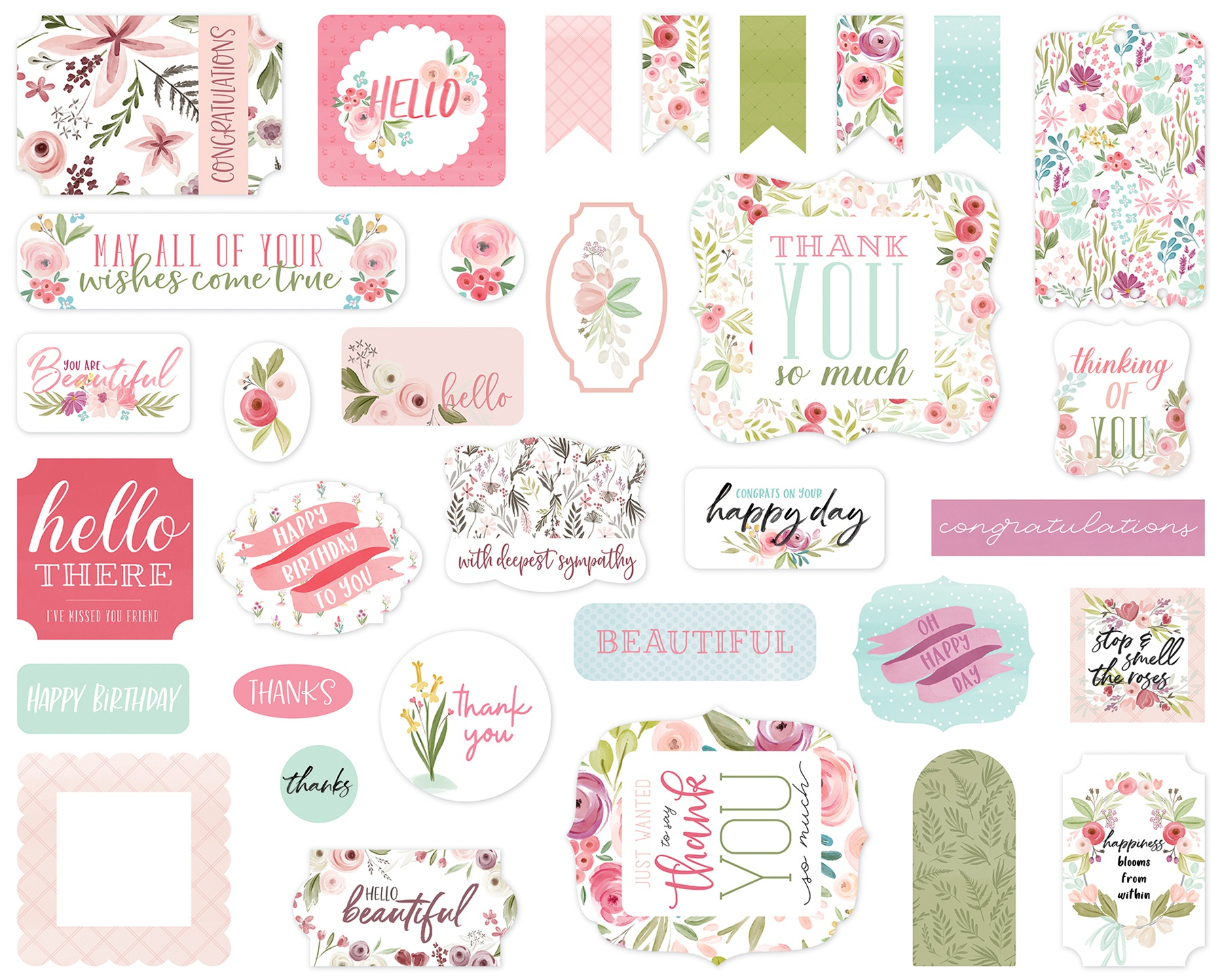 Carta Bella Cardstock Ephemera 33/Pkg-Icons, Flora No. 3