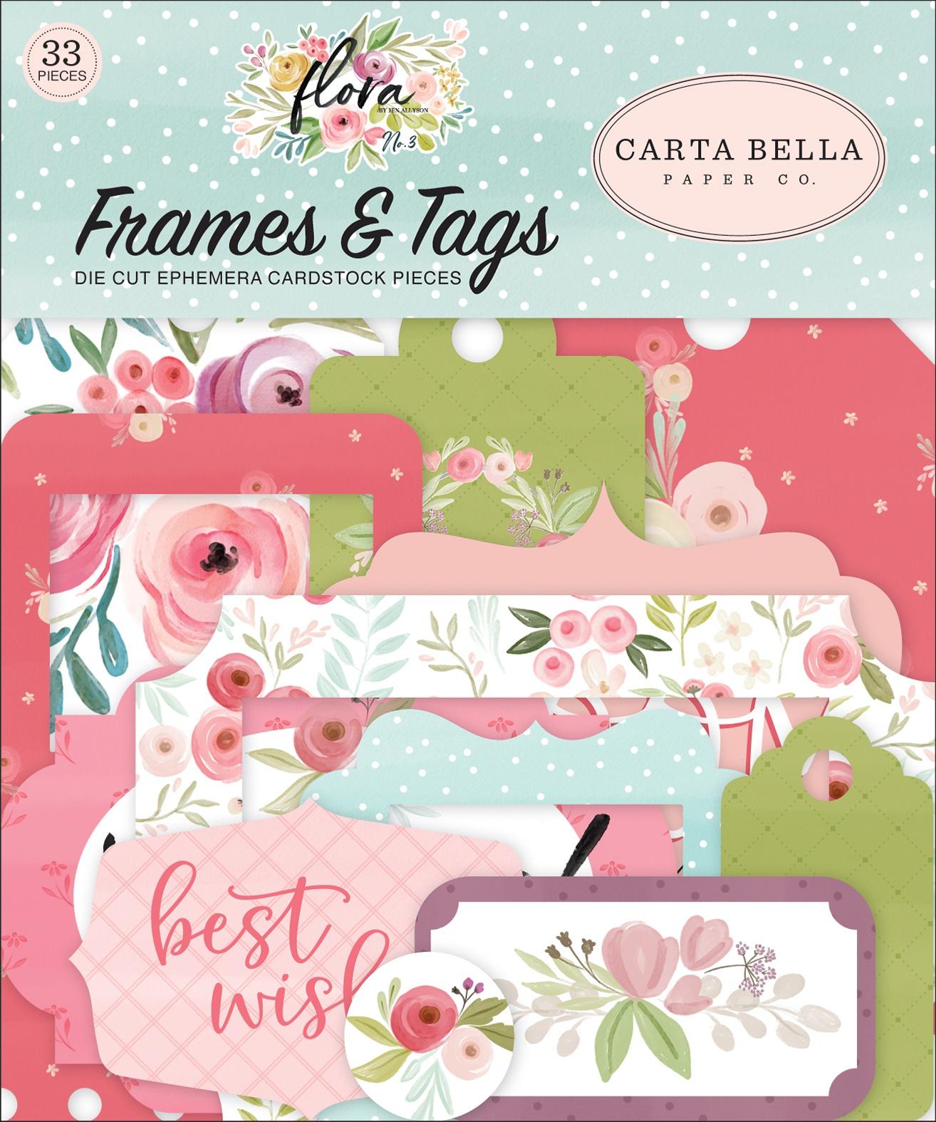 Carta Bella Cardstock Ephemera 33/Pkg-Frames & Tags, Flora No. 3