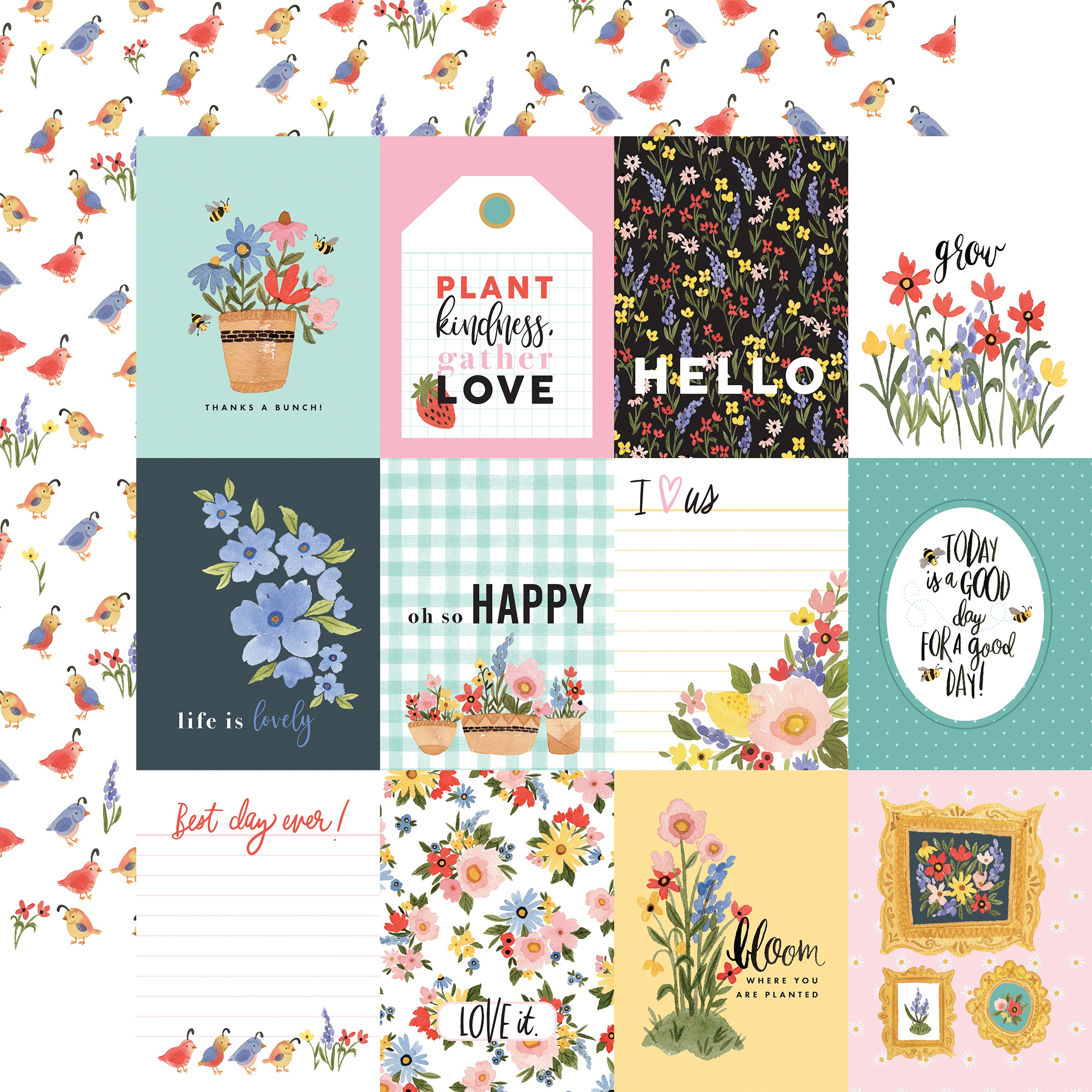 Oh Happy Day Spring Double-Sided Cardstock 12X12-3X4 Journaling Cards