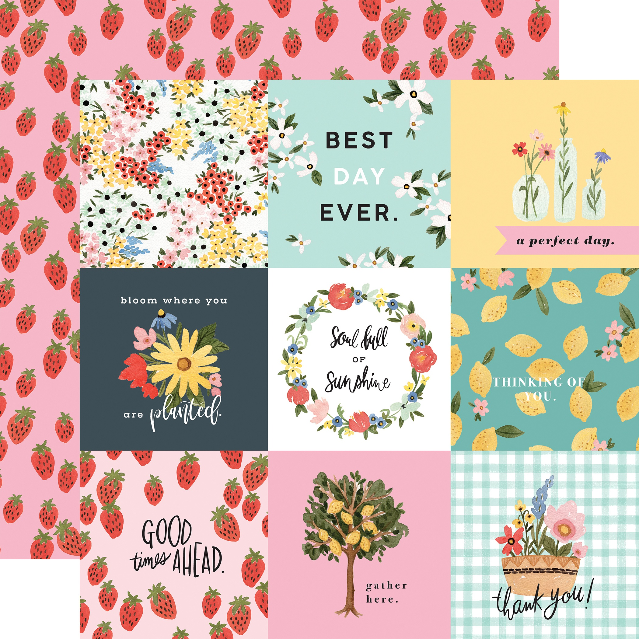 Oh Happy Day Spring Double-Sided Cardstock 12X12-4X4 Journaling Cards