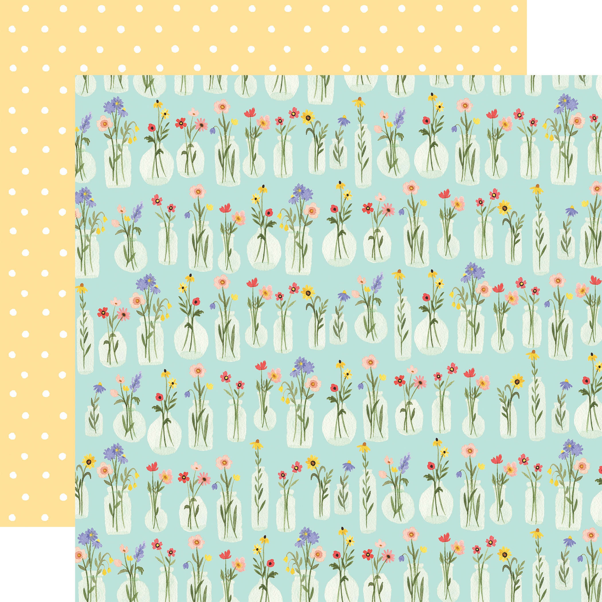 Oh Happy Day Spring Double-Sided Cardstock 12X12-Flower Jars