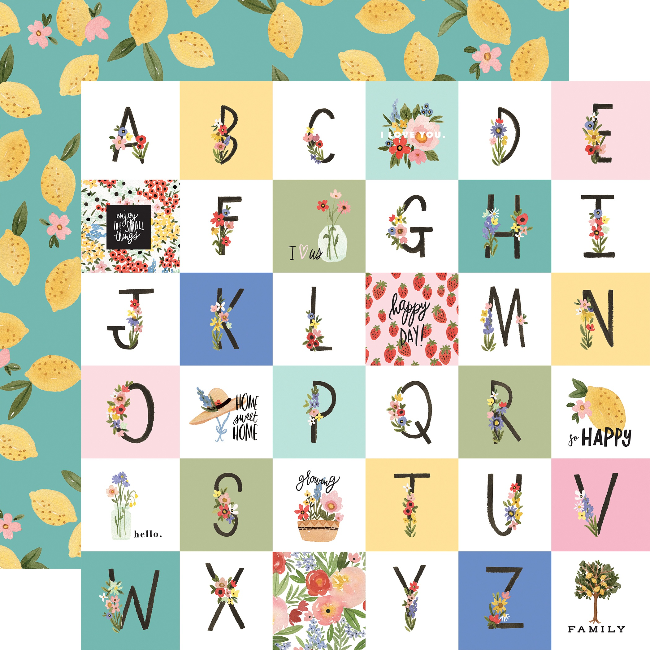 Oh Happy Day Spring Double-Sided Cardstock 12X12-Happy Alphabet