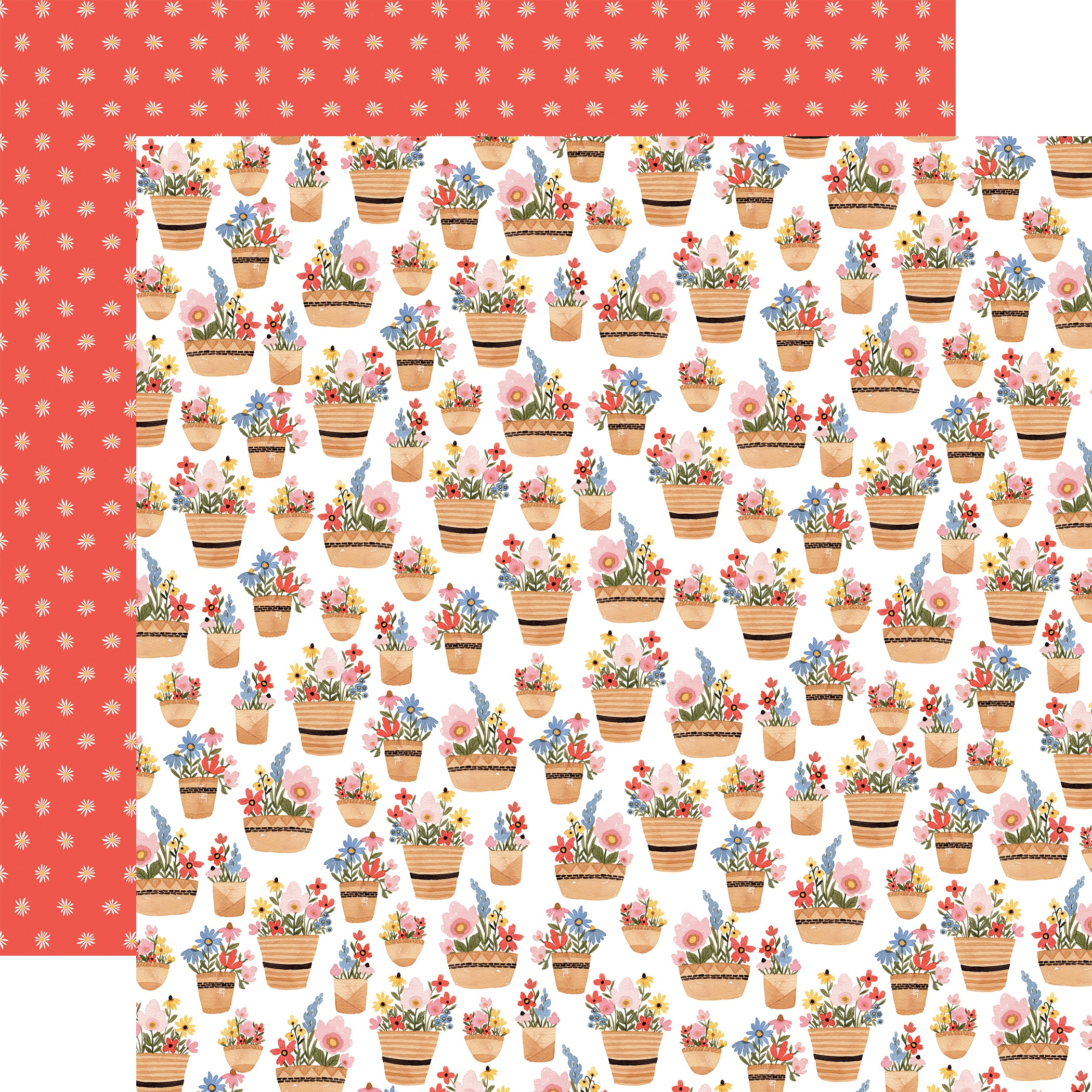 Oh Happy Day Spring Double-Sided Cardstock 12X12-Basket Of Flowers