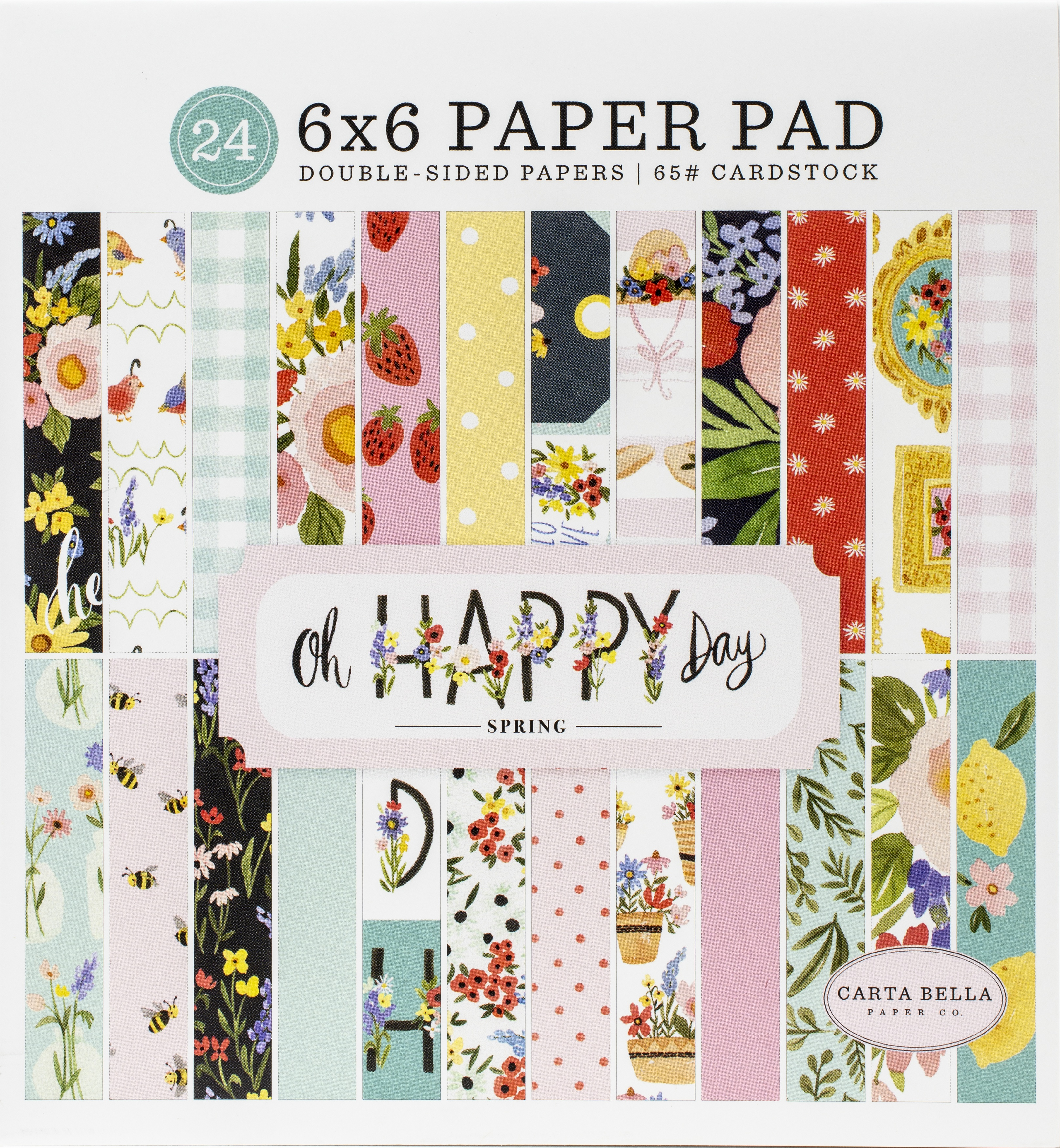 Carta Bella Double-Sided Paper Pad 6X6 24/Pkg-Oh Happy Day Spring, 12 Designs/...