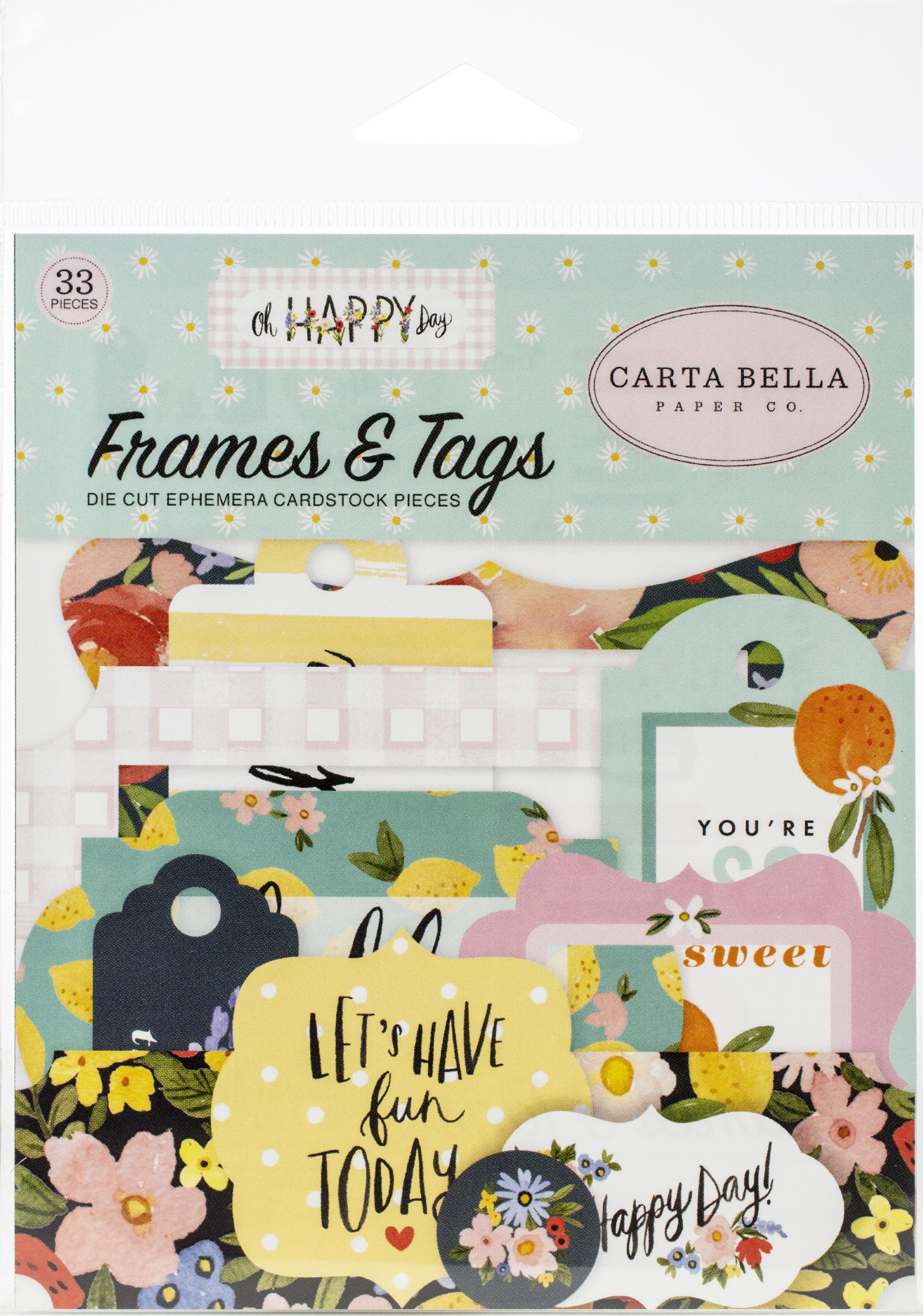 Carta Bella Cardstock Ephemera 33/Pkg-Frames & Tags, Oh Happy Day Spring