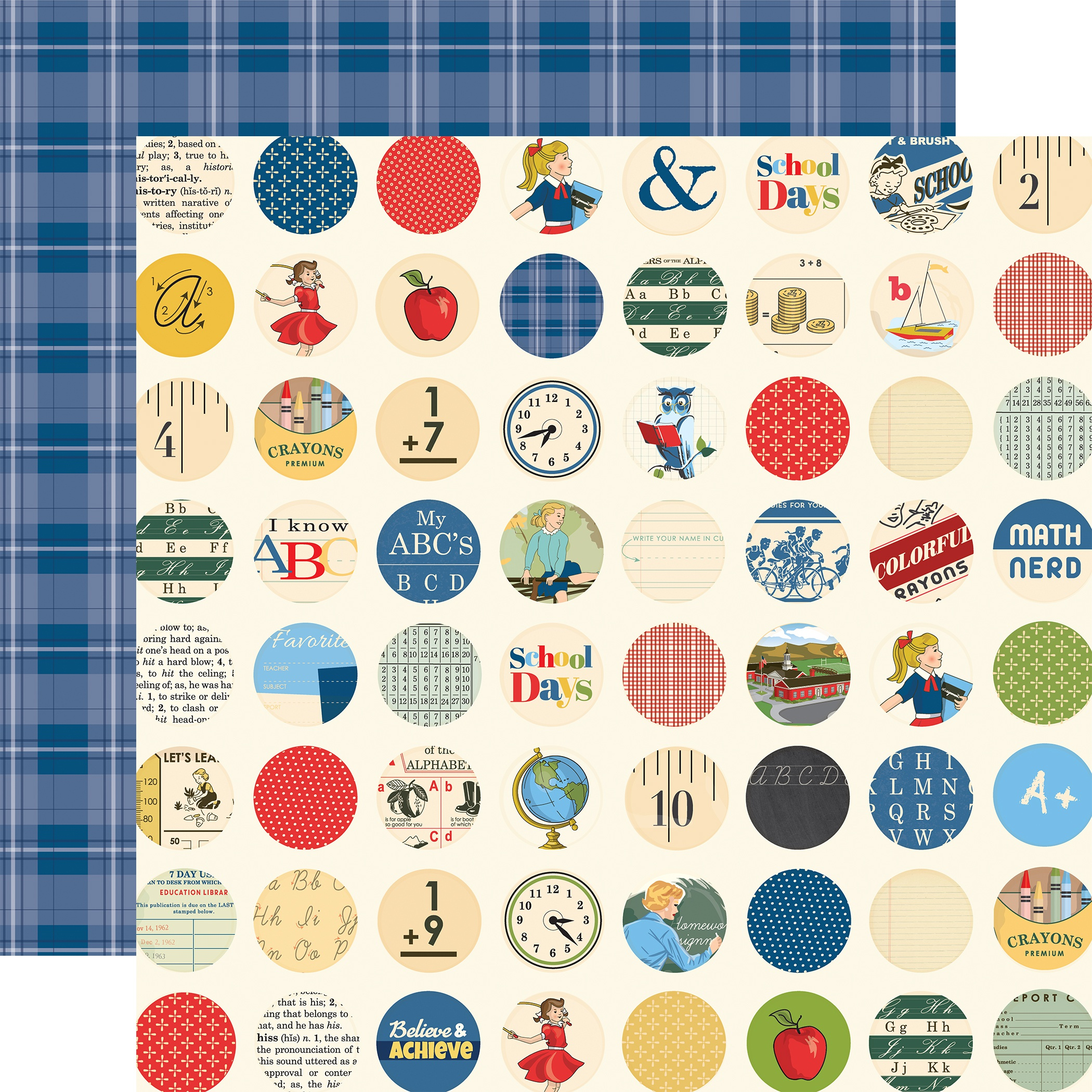 School Days Double-Sided Cardstock 12X12-School Circles