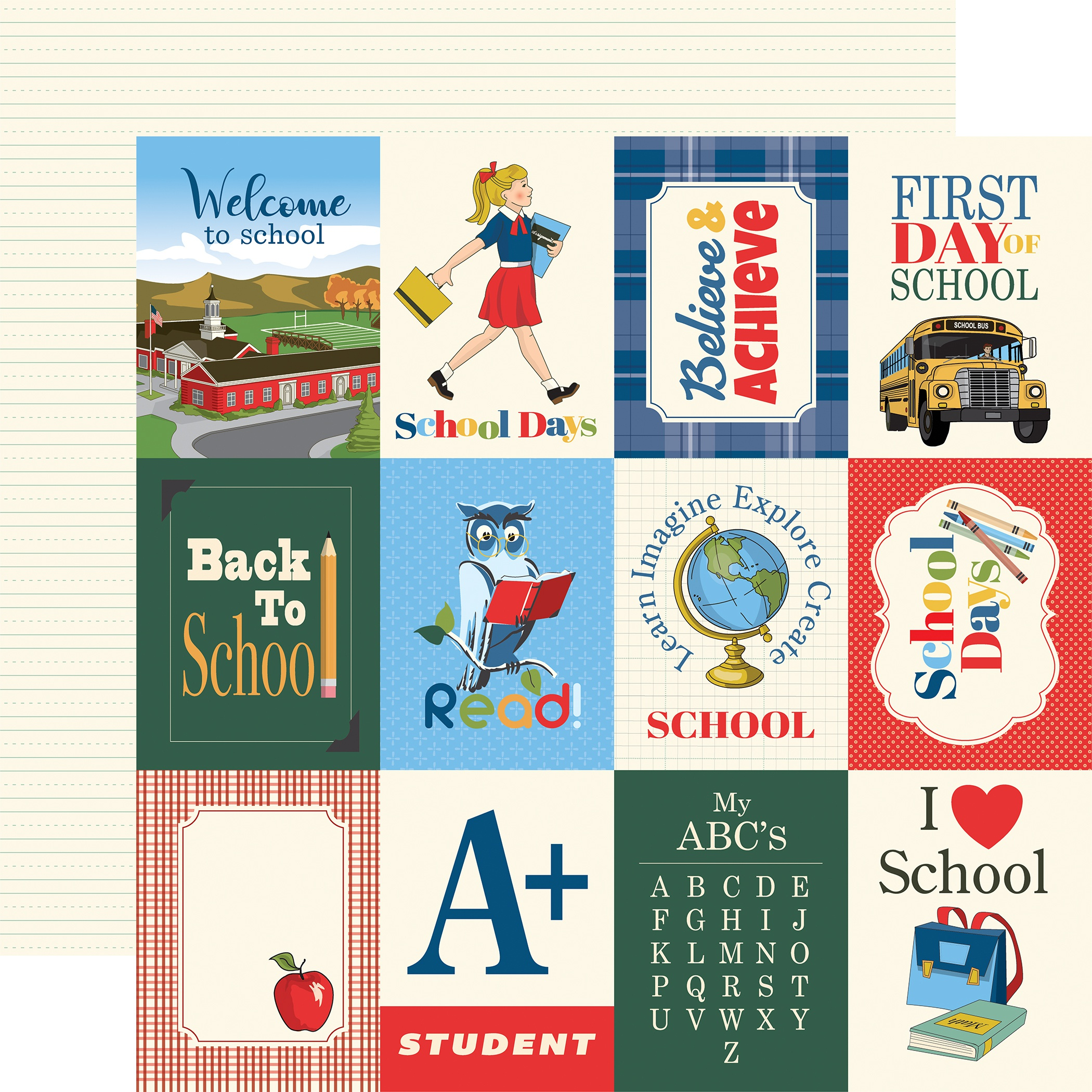 School Days Double-Sided Cardstock 12X12-3X4 Journaling Cards