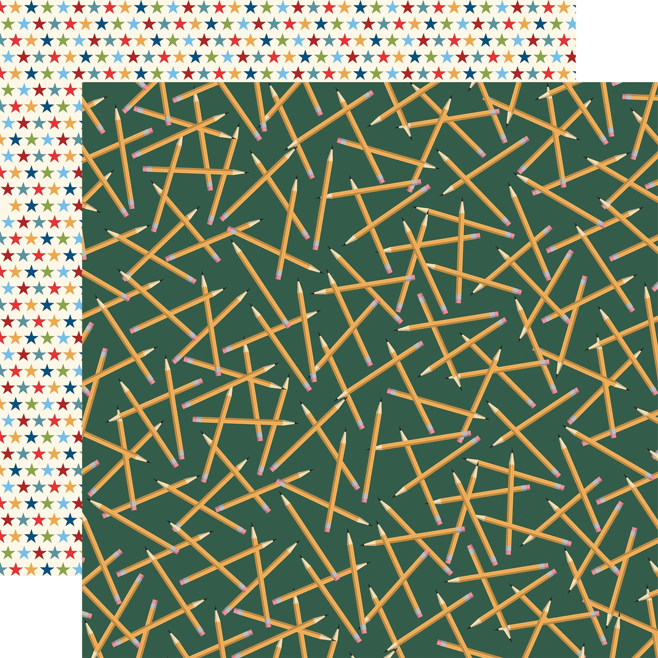 School Days Double-Sided Cardstock 12X12-Scattered Pencils