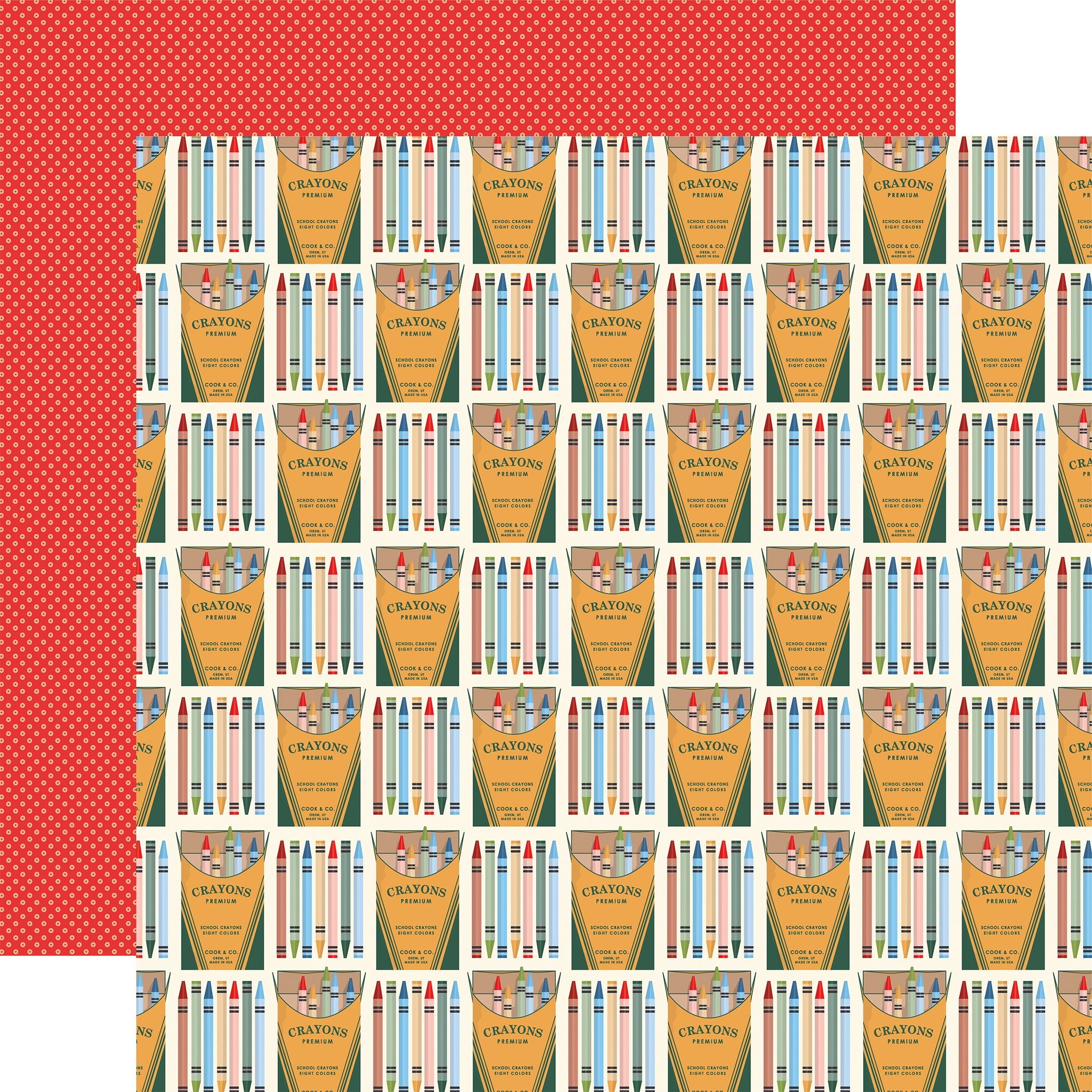 School Days Double-Sided Cardstock 12X12-Colorful Crayons