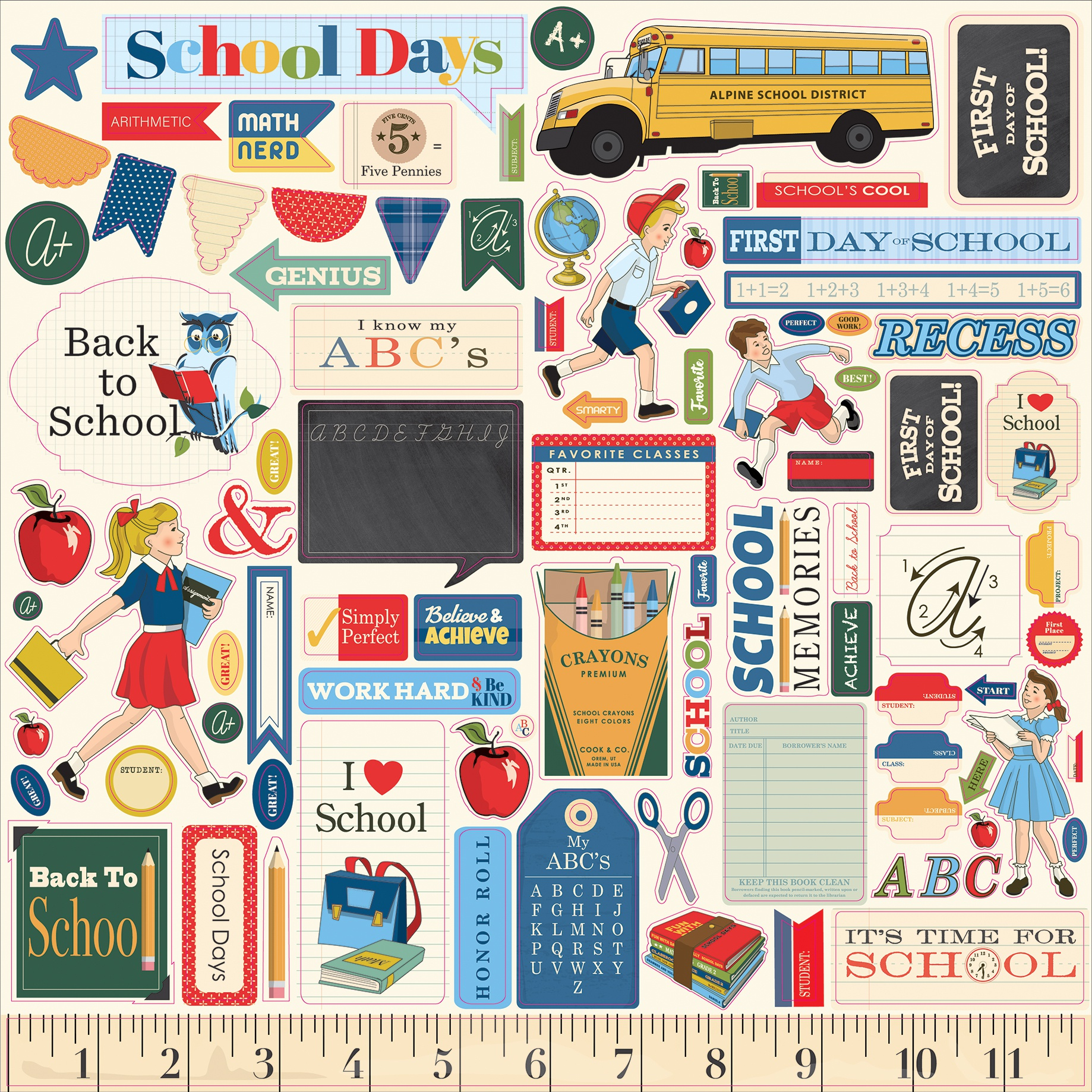 School Days Cardstock Stickers 12X12-Elements