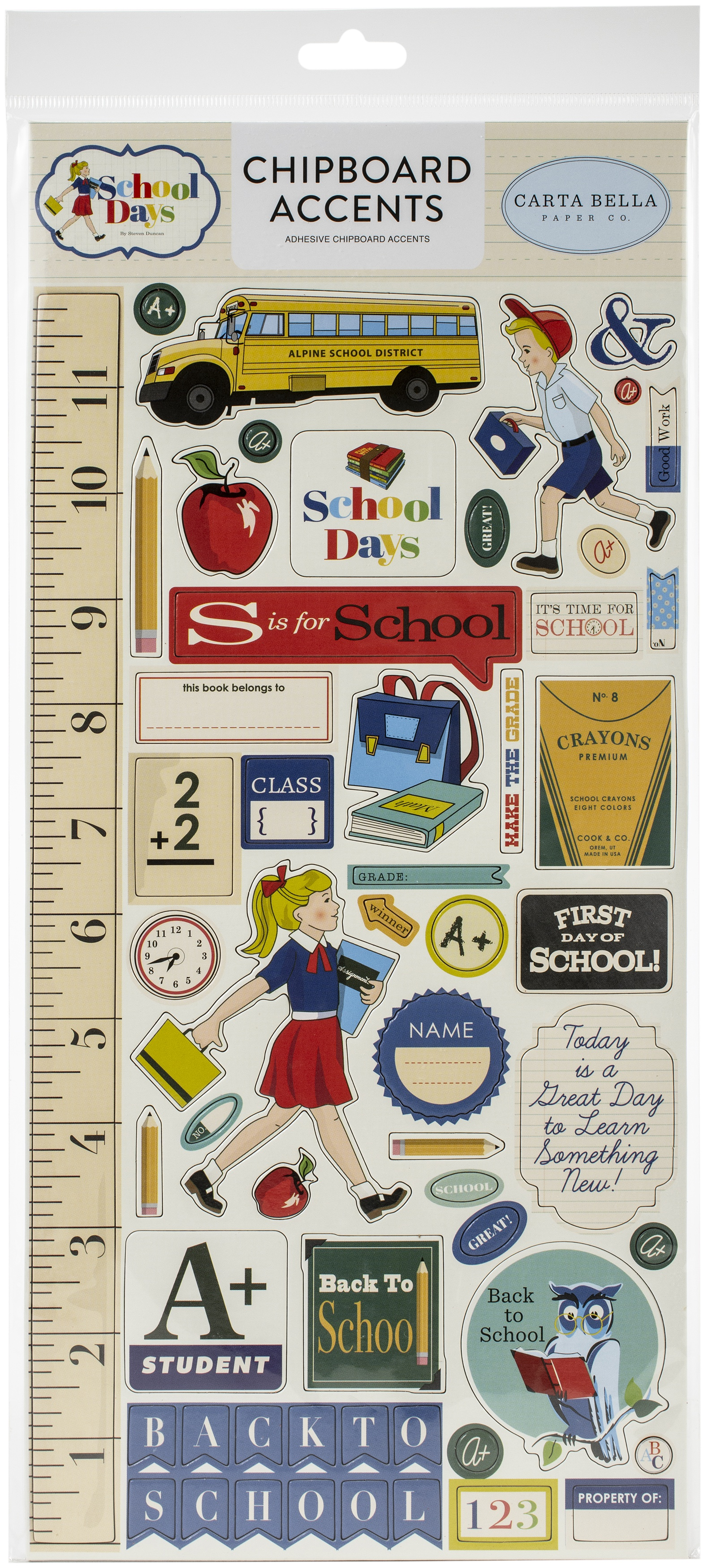School Days Chipboard 6X13-Accents, School Days