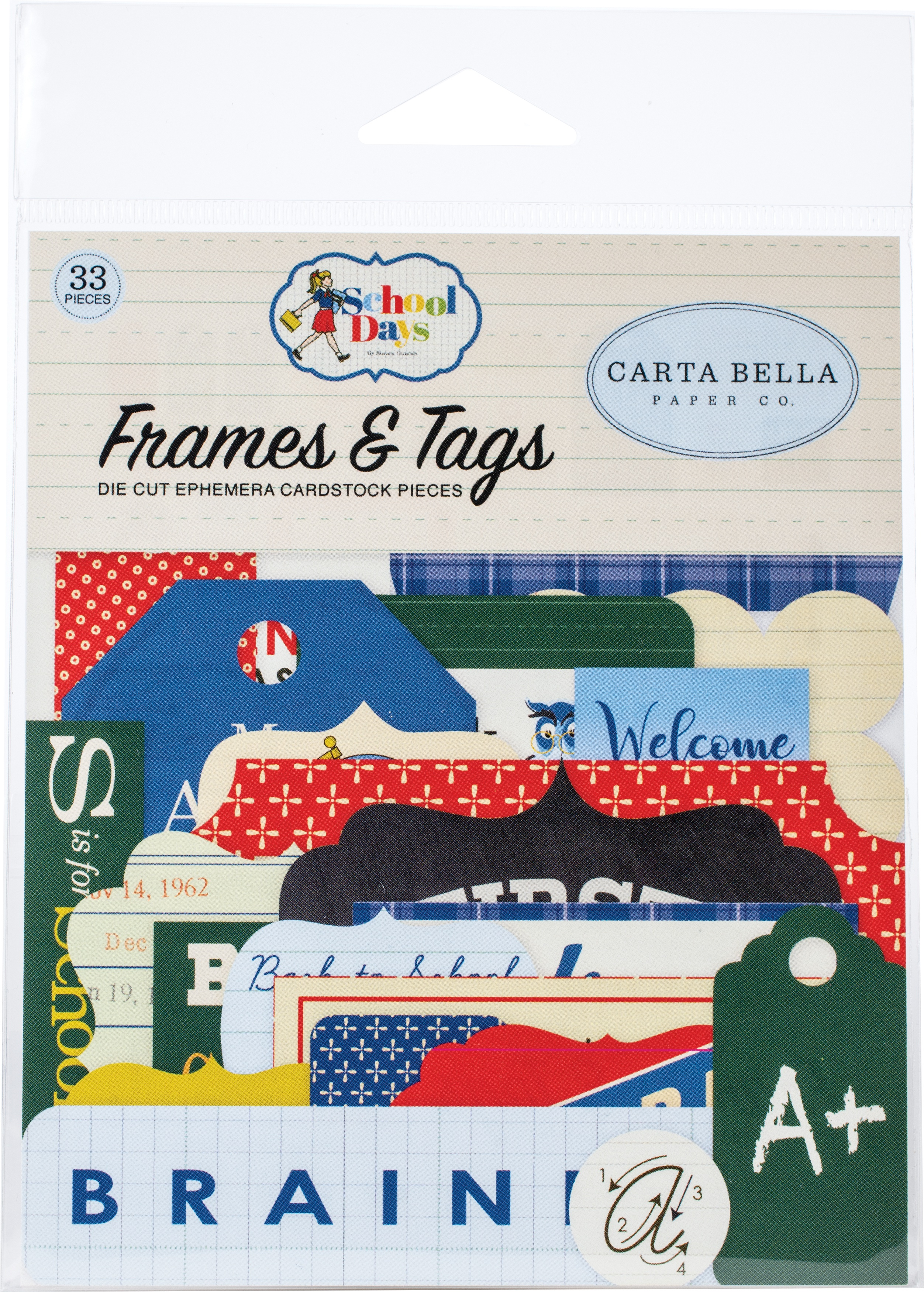 Carta Bella Cardstock Ephemera 33/Pkg-Frames & Tags, School Days