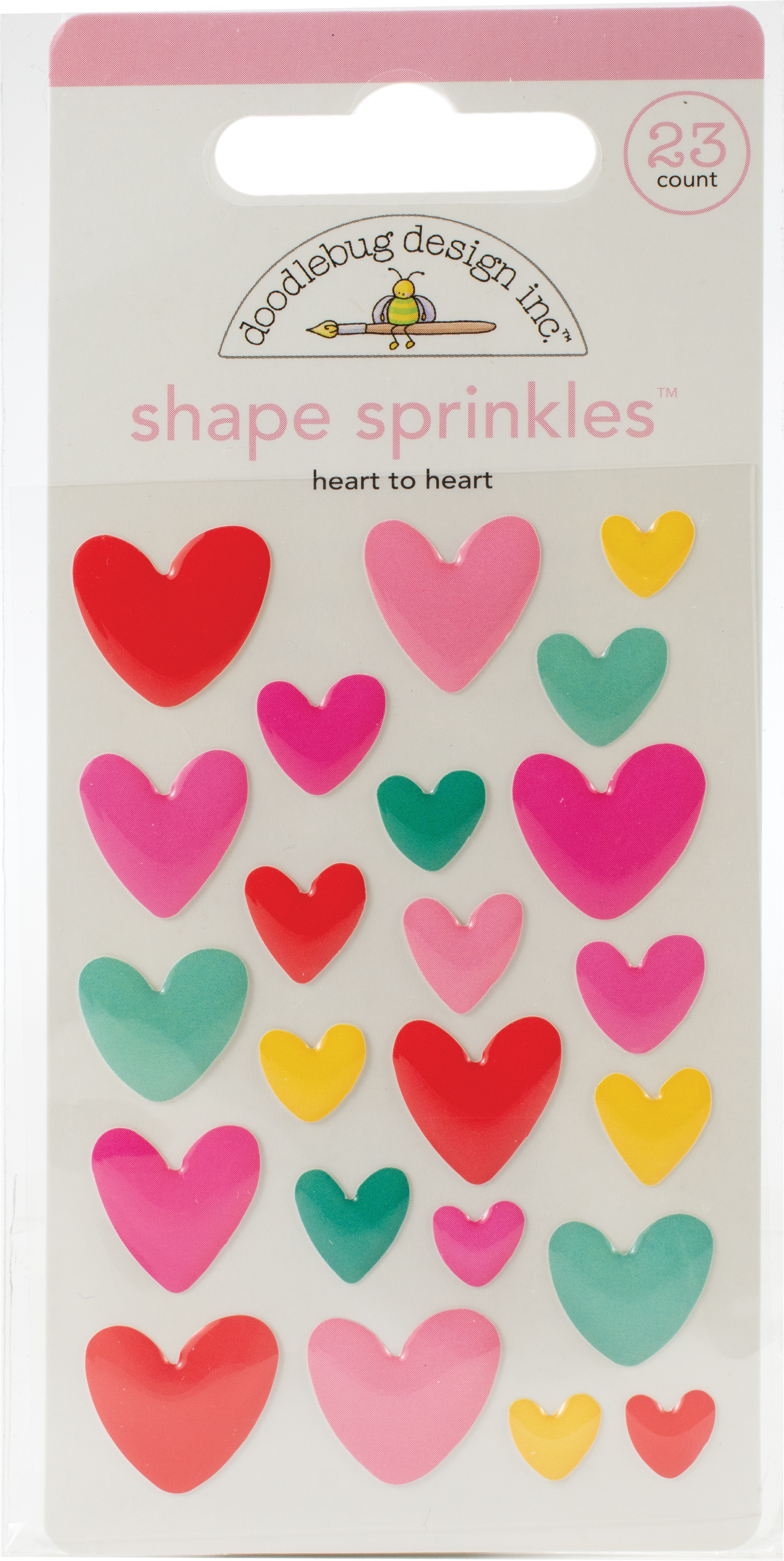 Doodlebug Sprinkles Adhesive Enamel Shapes-Heart To Heart, Love Notes
