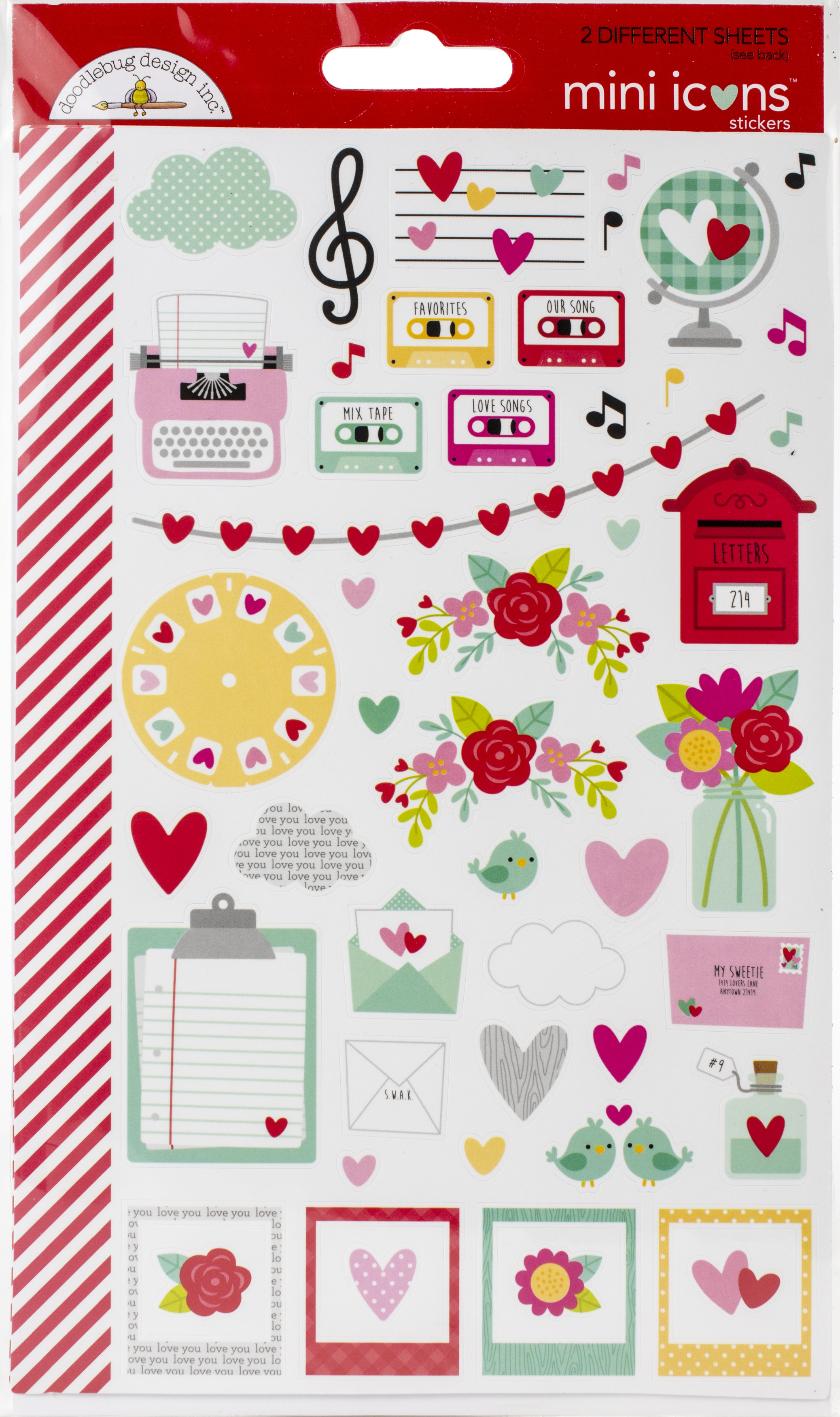 Doodlebug Mini Cardstock Stickers 2/Pkg-Love Notes Icons