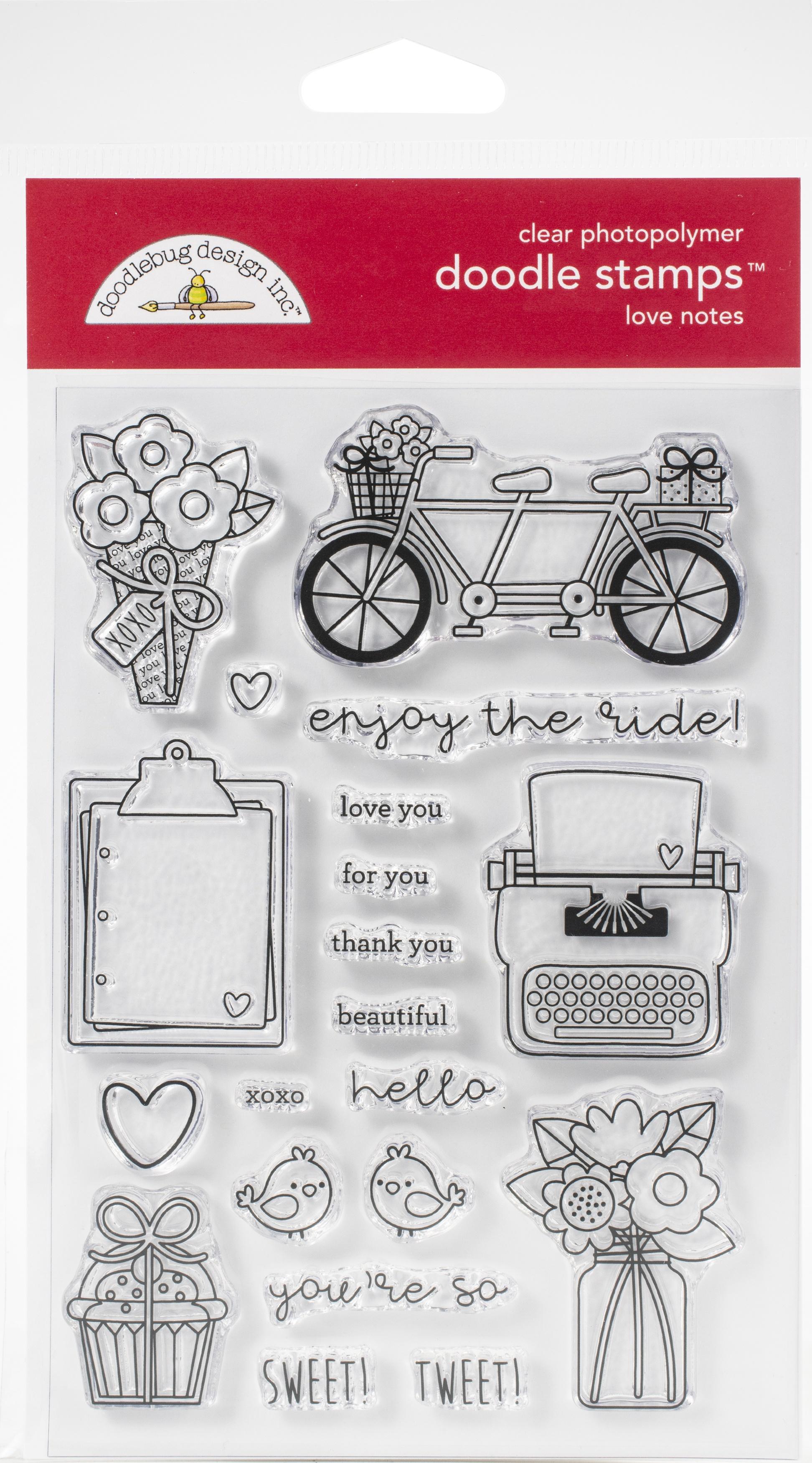 Doodlebug Clear Doodle Stamps-Love Notes
