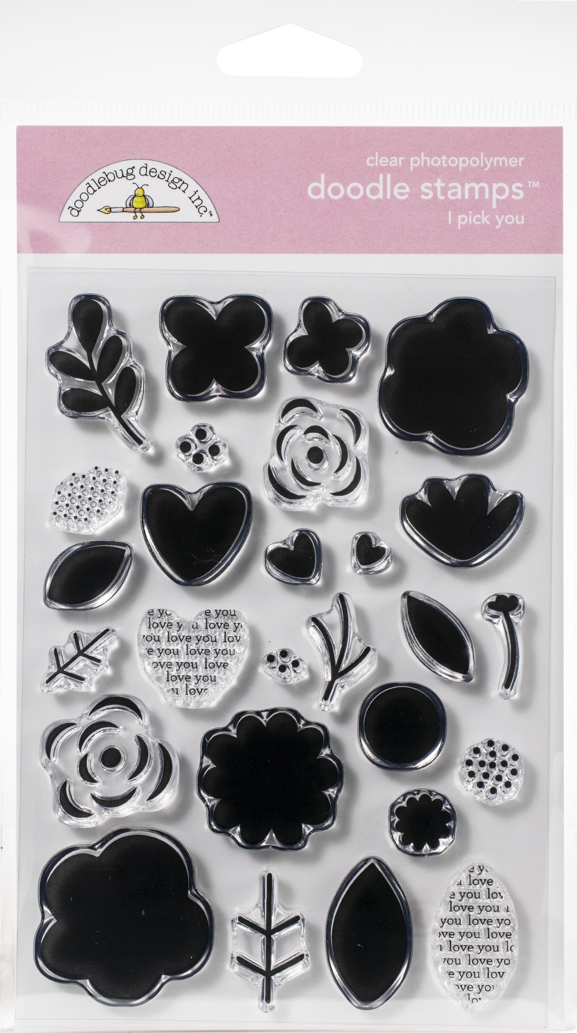 Doodlebug Clear Doodle Stamps-I Pick You Love Notes