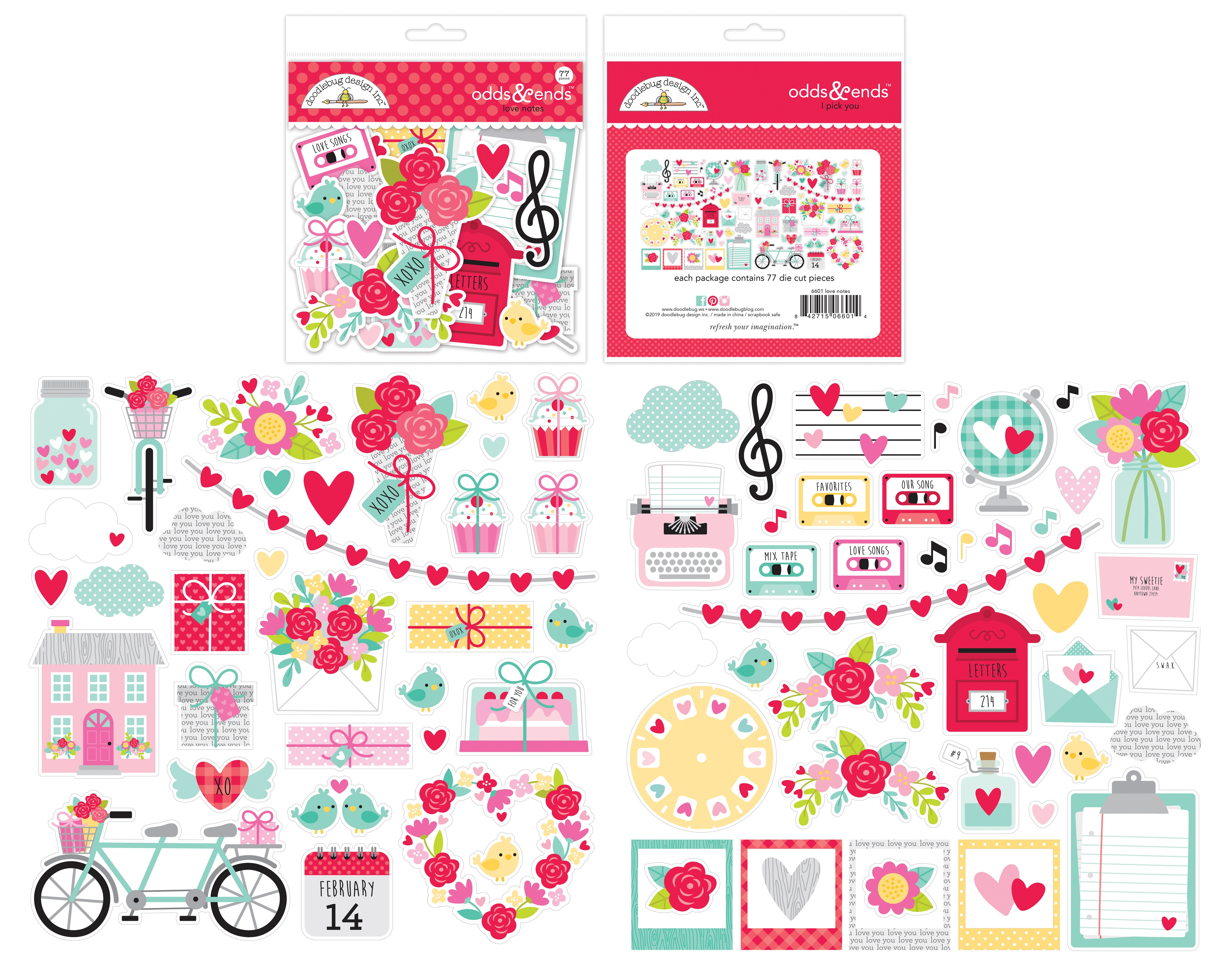 Doodlebug Odds & Ends Die-Cuts-Love Notes, 77/Pkg