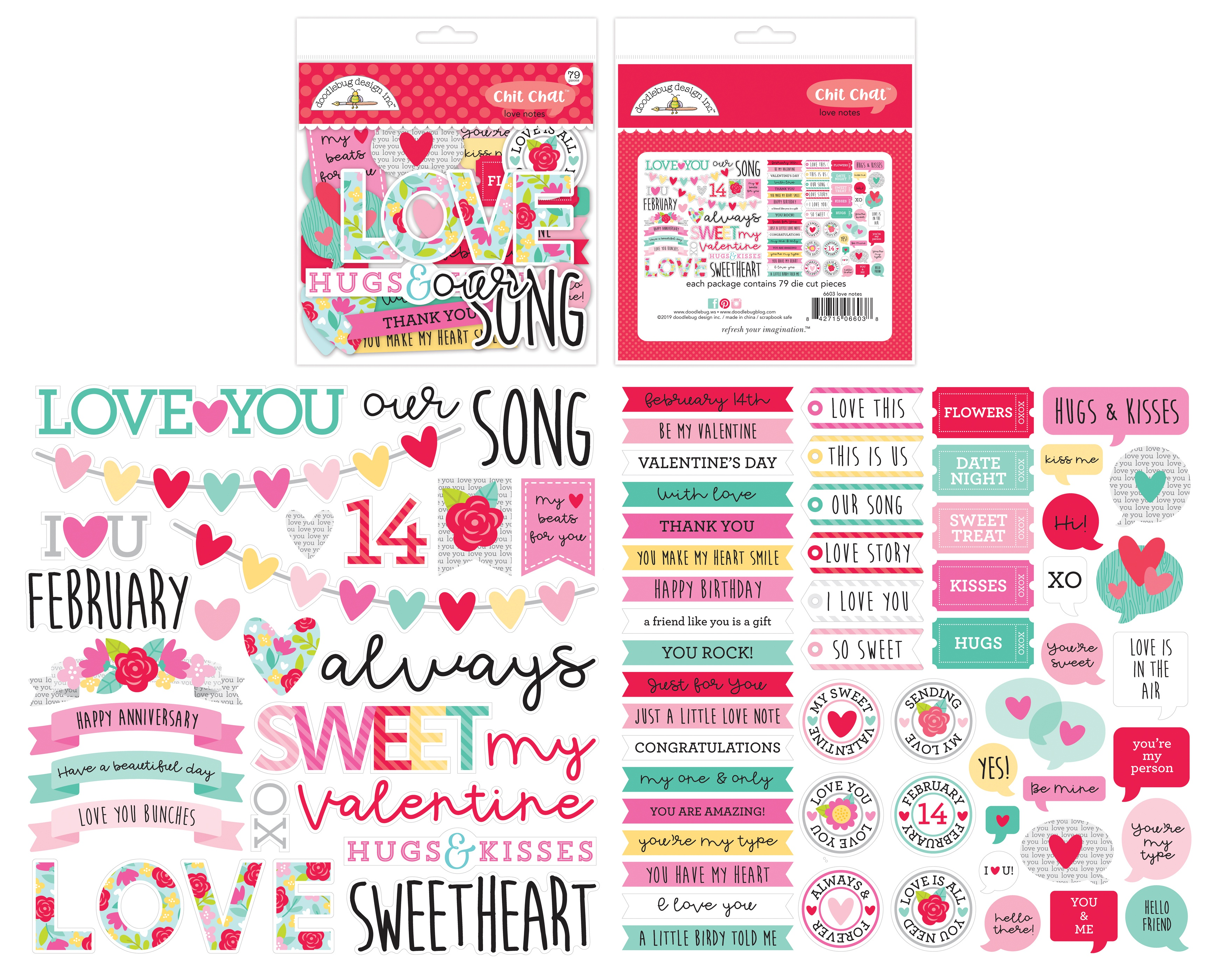 Doodlebug Odds & Ends Chit Chat Die-Cuts-Love Notes 79/Pkg