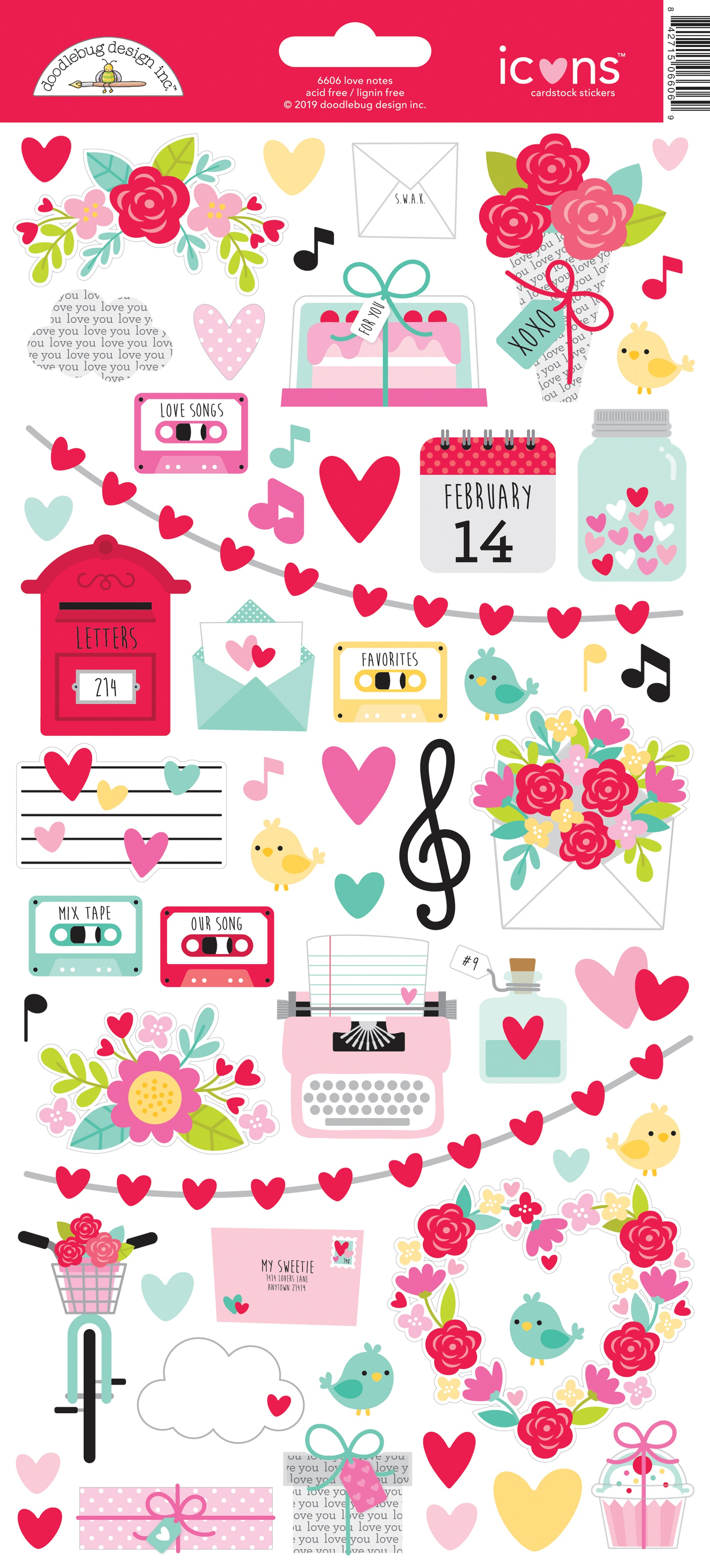 Doodlebug Cardstock Stickers 6X13-Love Notes Icons