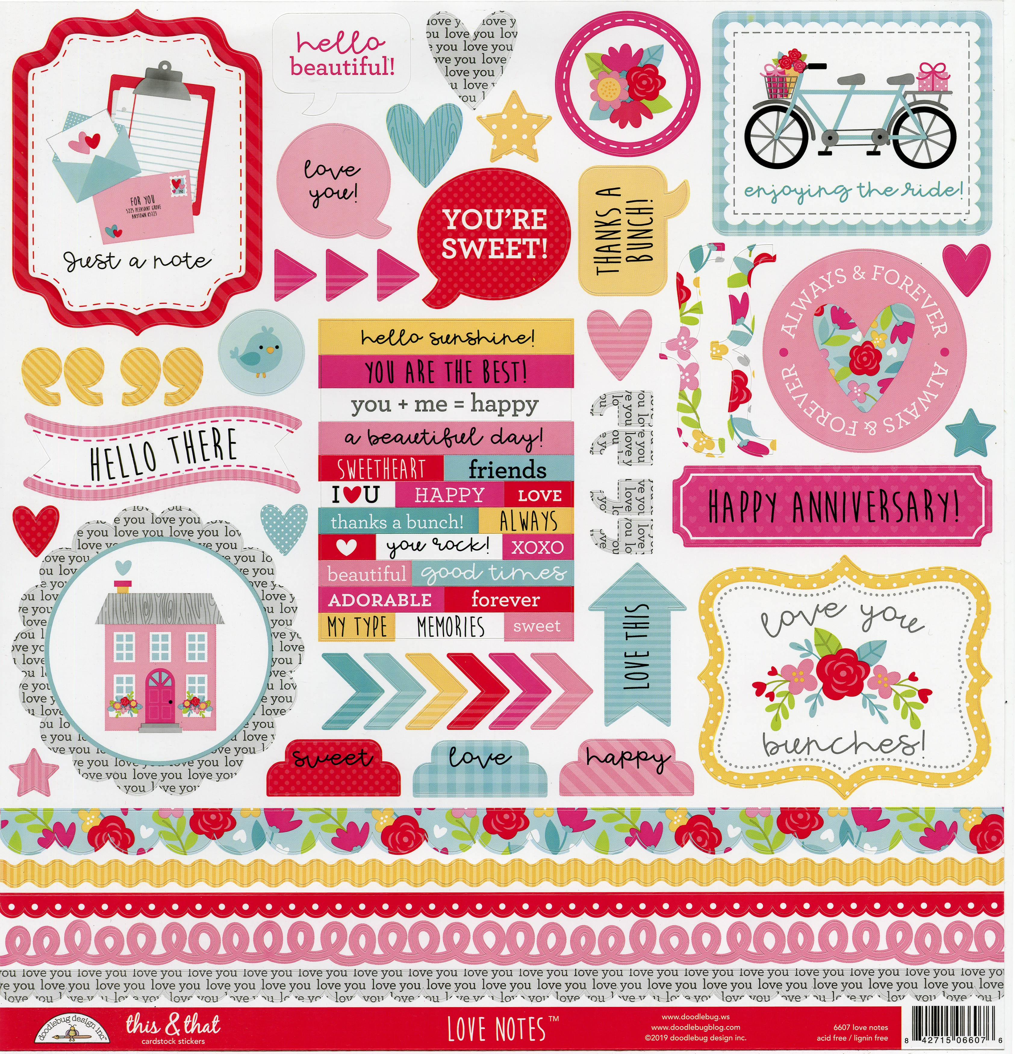 Love Notes This & That Stickers 12X12