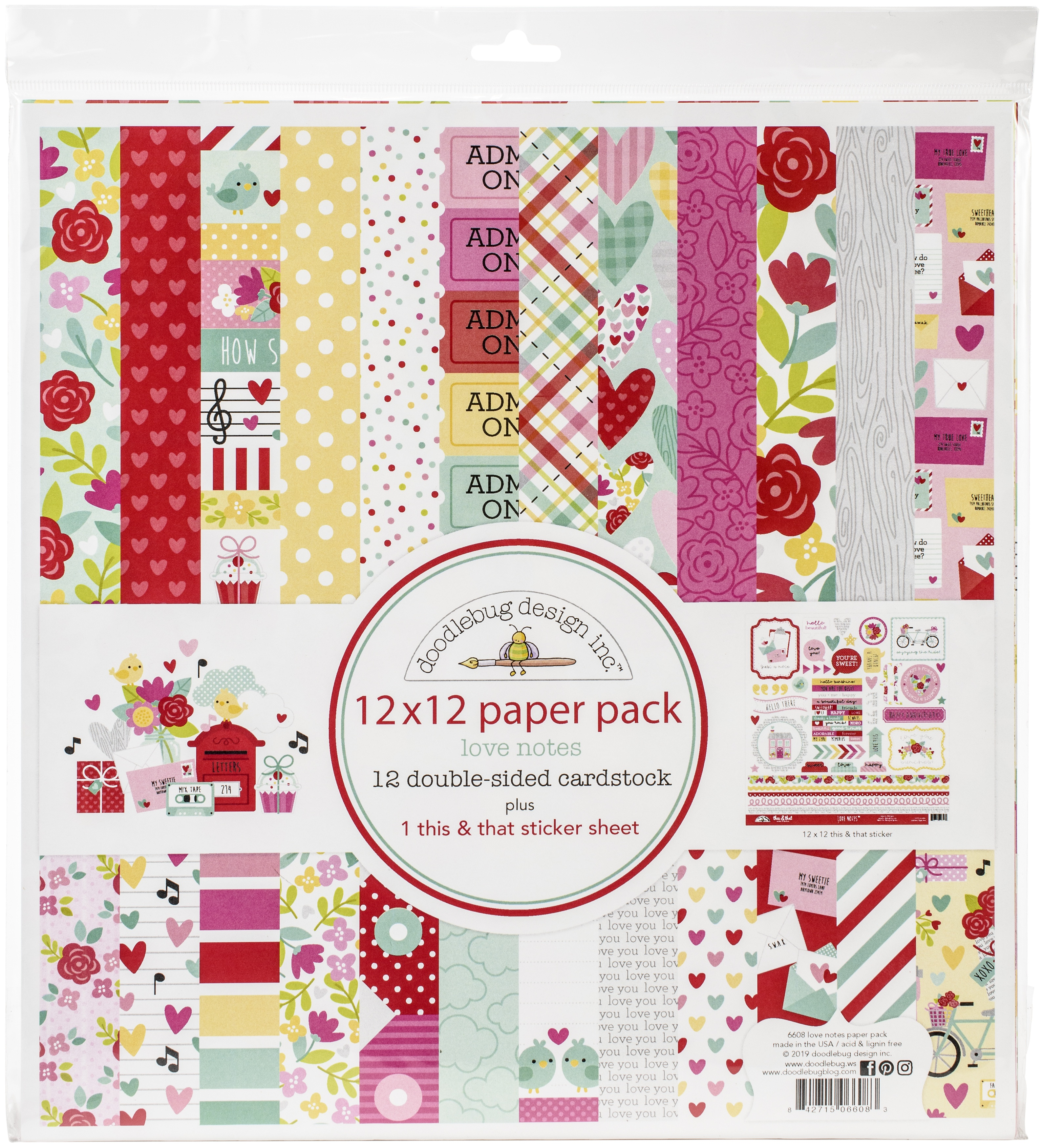 Doodlebug Double-Sided Paper Pack 12X12 12/Pkg-Love Notes