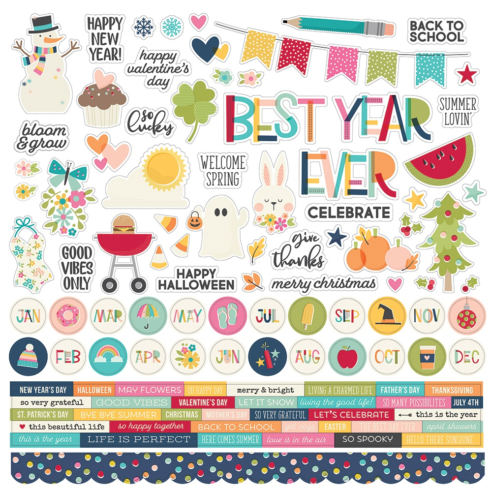 Best Year Ever Cardstock Stickers 12X12-Combo