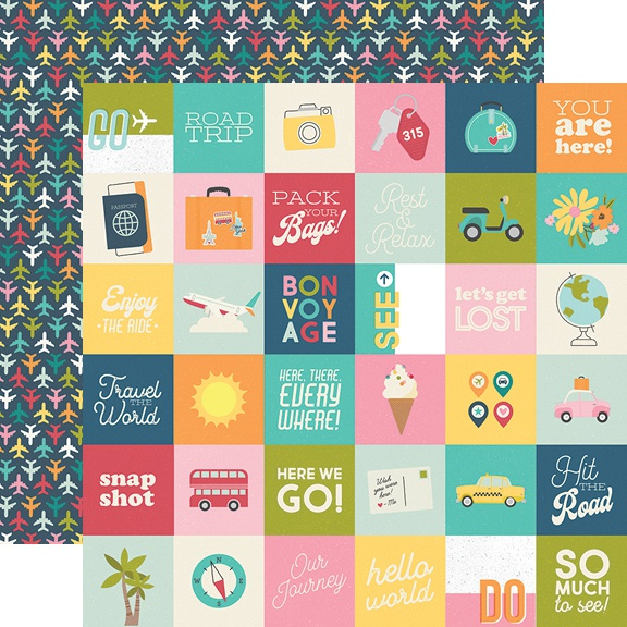 Going Places Double-Sided Cardstock 12X12-2X2 Elements