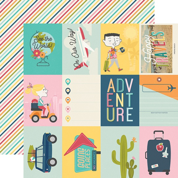 Going Places Double-Sided Cardstock 12X12-3X4 Elements